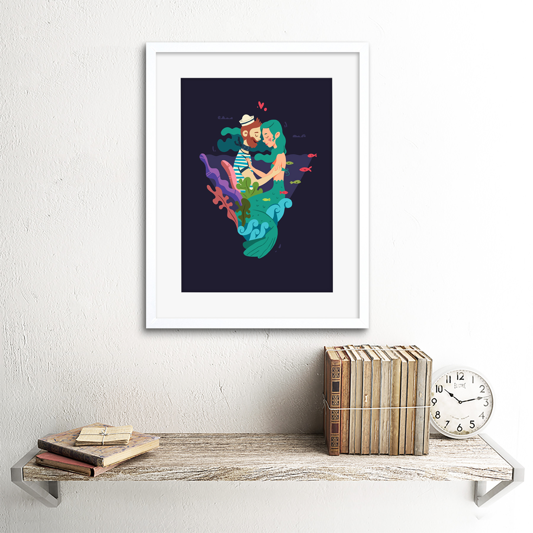 Nautical Love Mermaid Sailor Framed Wall Art Print