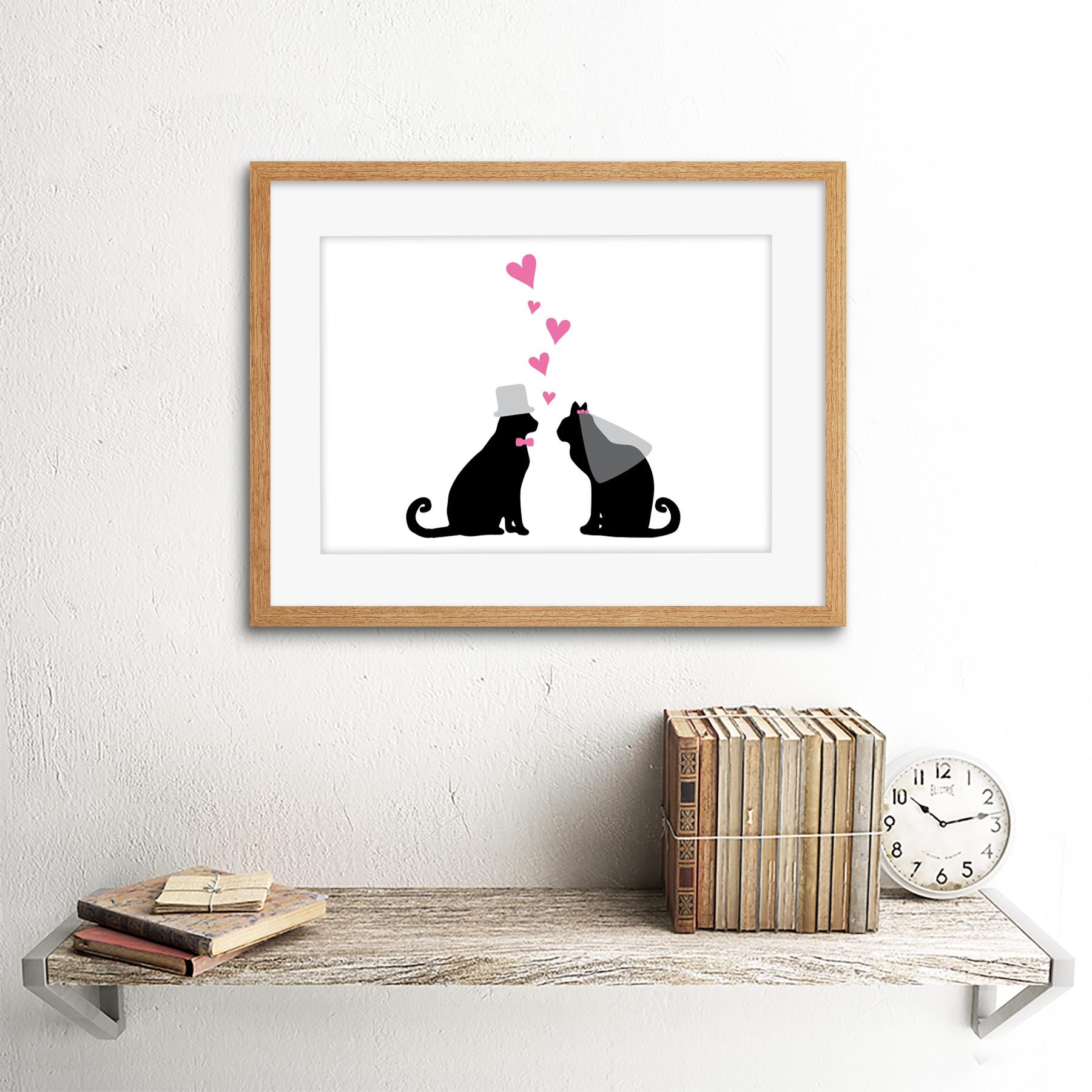 Matrimonio Boda Amor Pareja De Gatos Impresión Arte Enmarcado 12x16 pulgadas