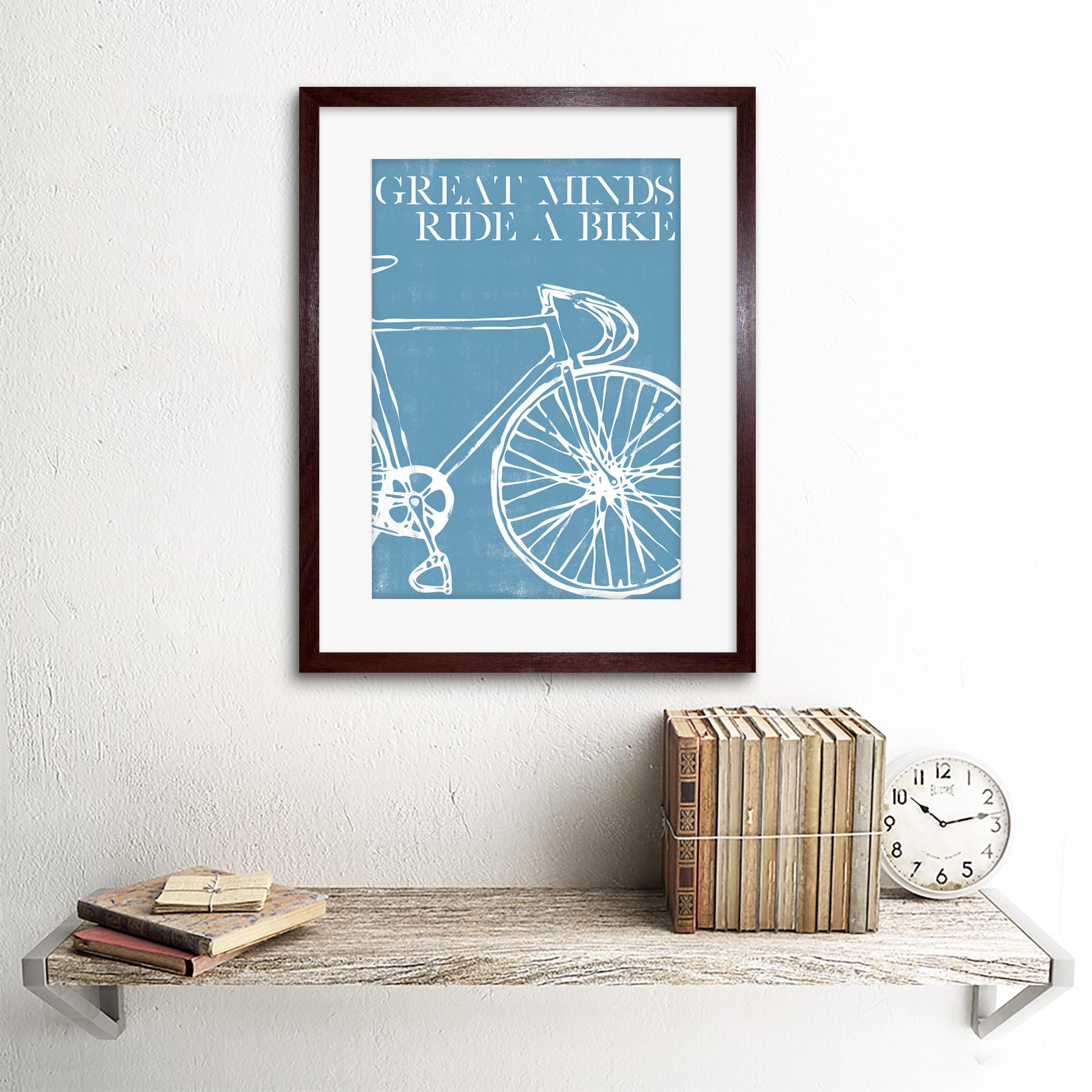 Ciclo bicicleta deporte grandes mentes Enmarcado Pared Arte Impresión 12X16 en