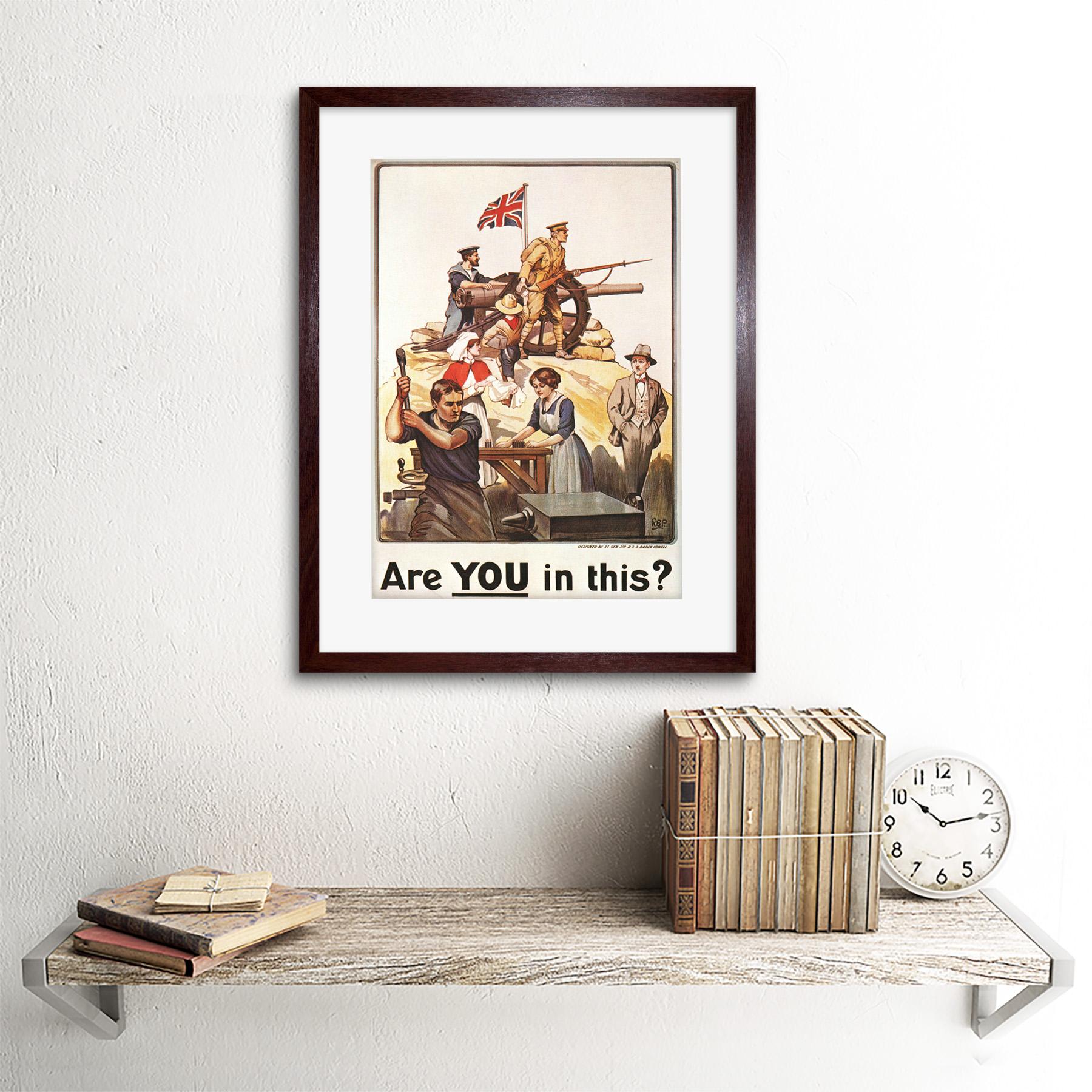 War First World Enlist Recruit UK Ad Framed Art Print Picture Mount 12x16 Inch