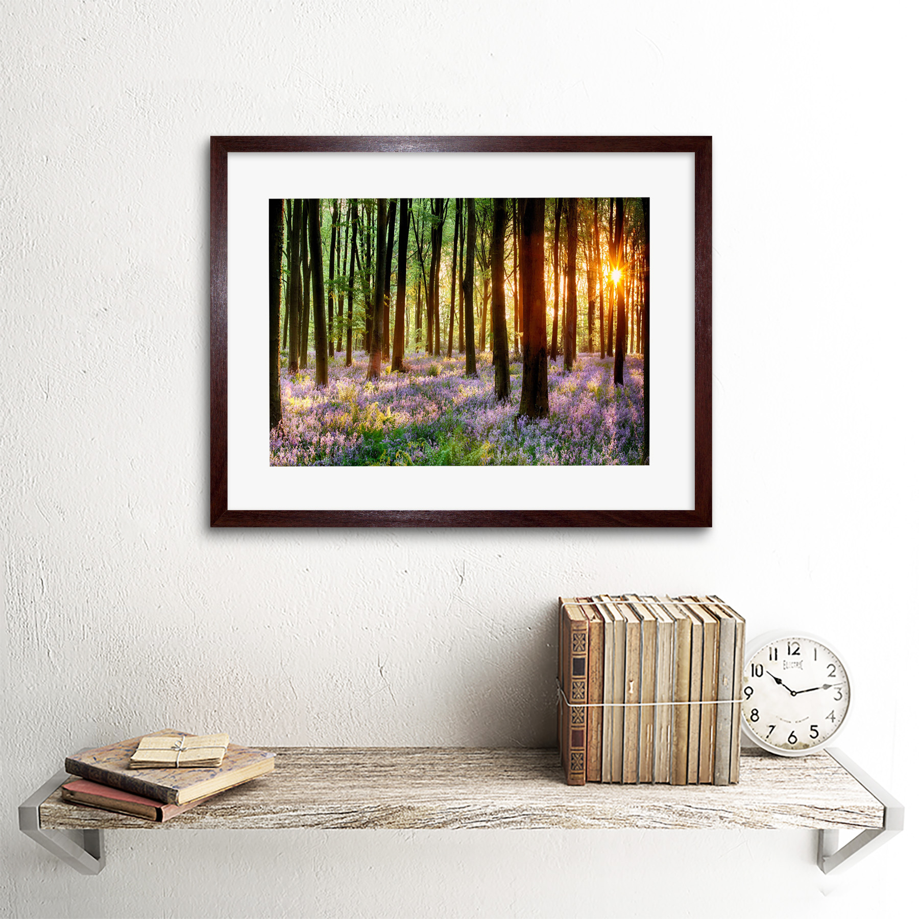 Bluebell Wood Sunrise Trees Photo Framed Art Print Picture /& Mount 12x16 Inch