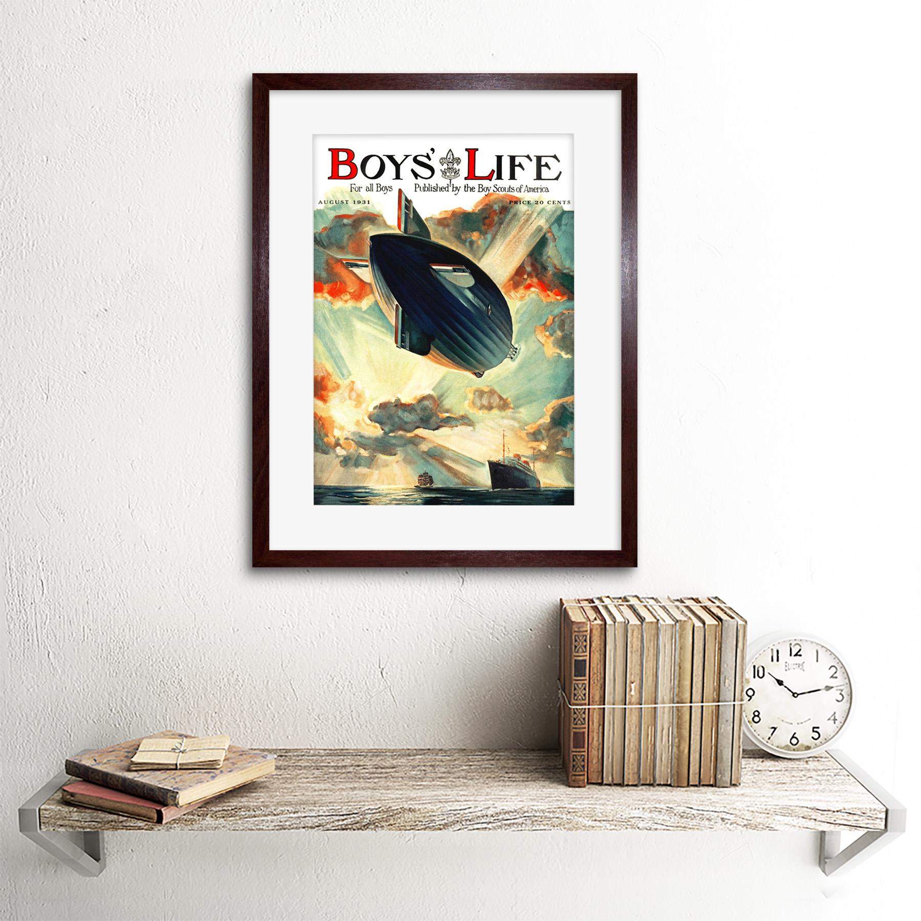 "Comics Boys Life Boy Scout Airship Zeppelin Liner Ocean Framed Art Print 12x16/"""
