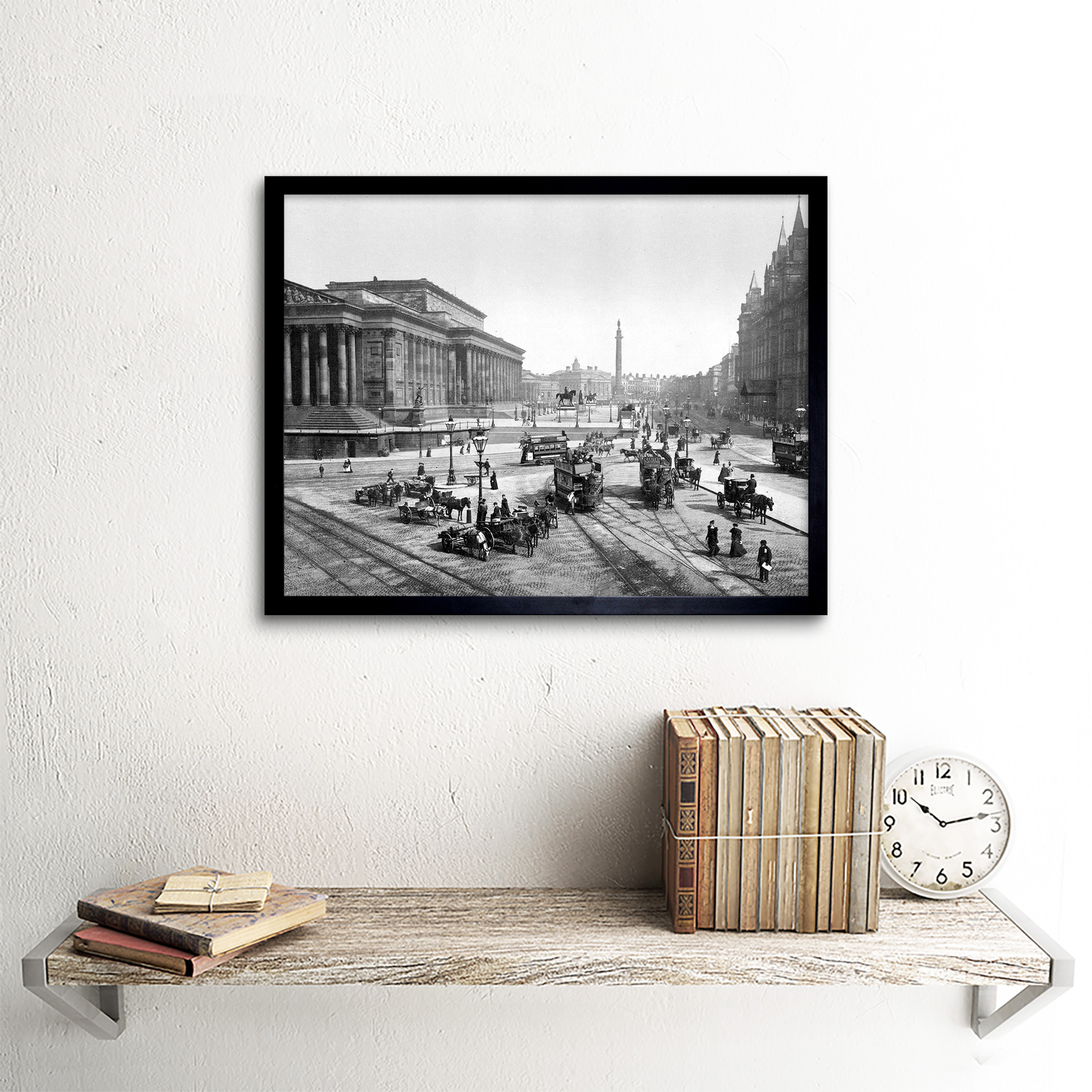 George/'s Hall England Old Bw 12X16 Inch Framed Art Print Liverpool St