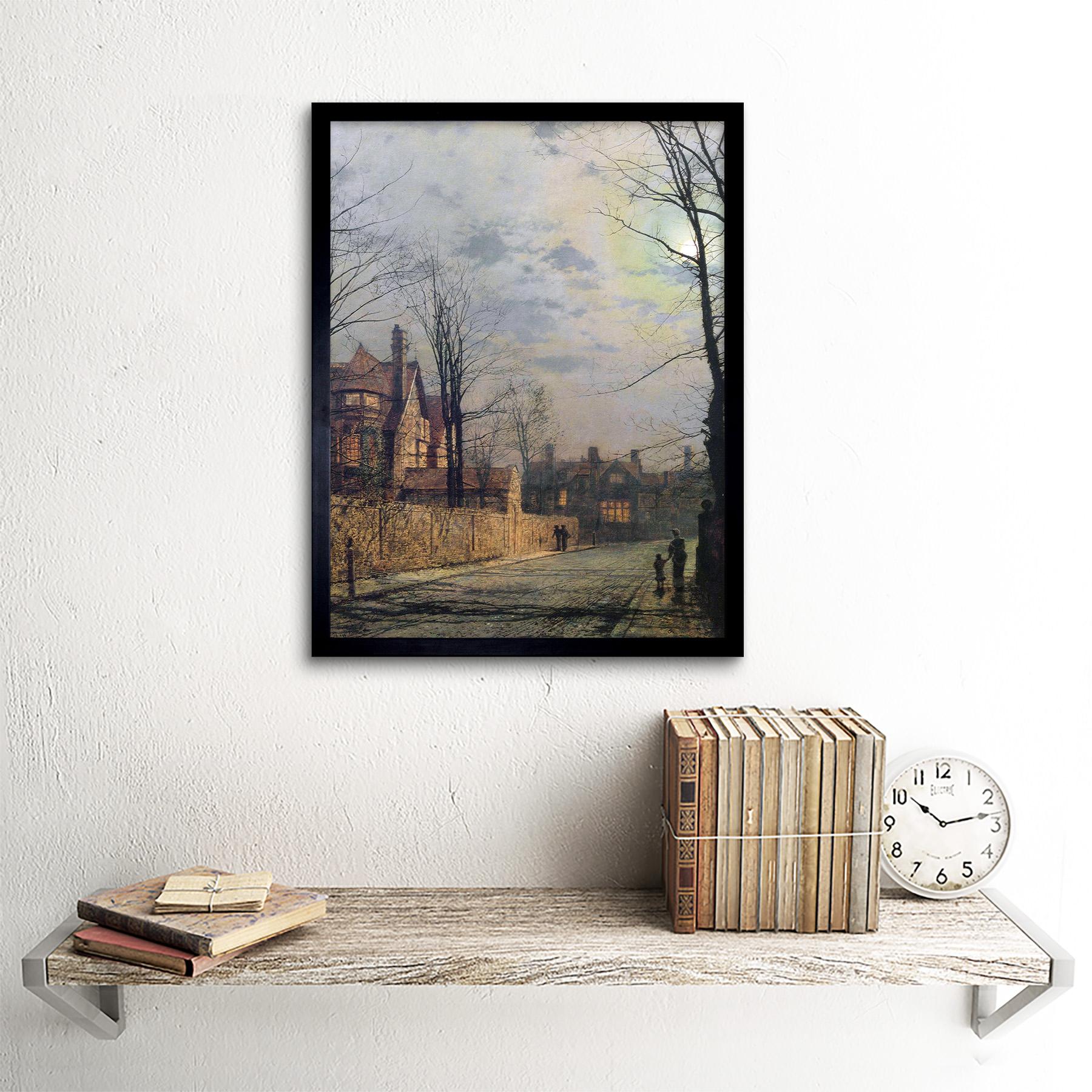 John Atkinson Grimshaw pinturas iluminado por la Luna Street Scene Pintura impresión de arte enmarcado