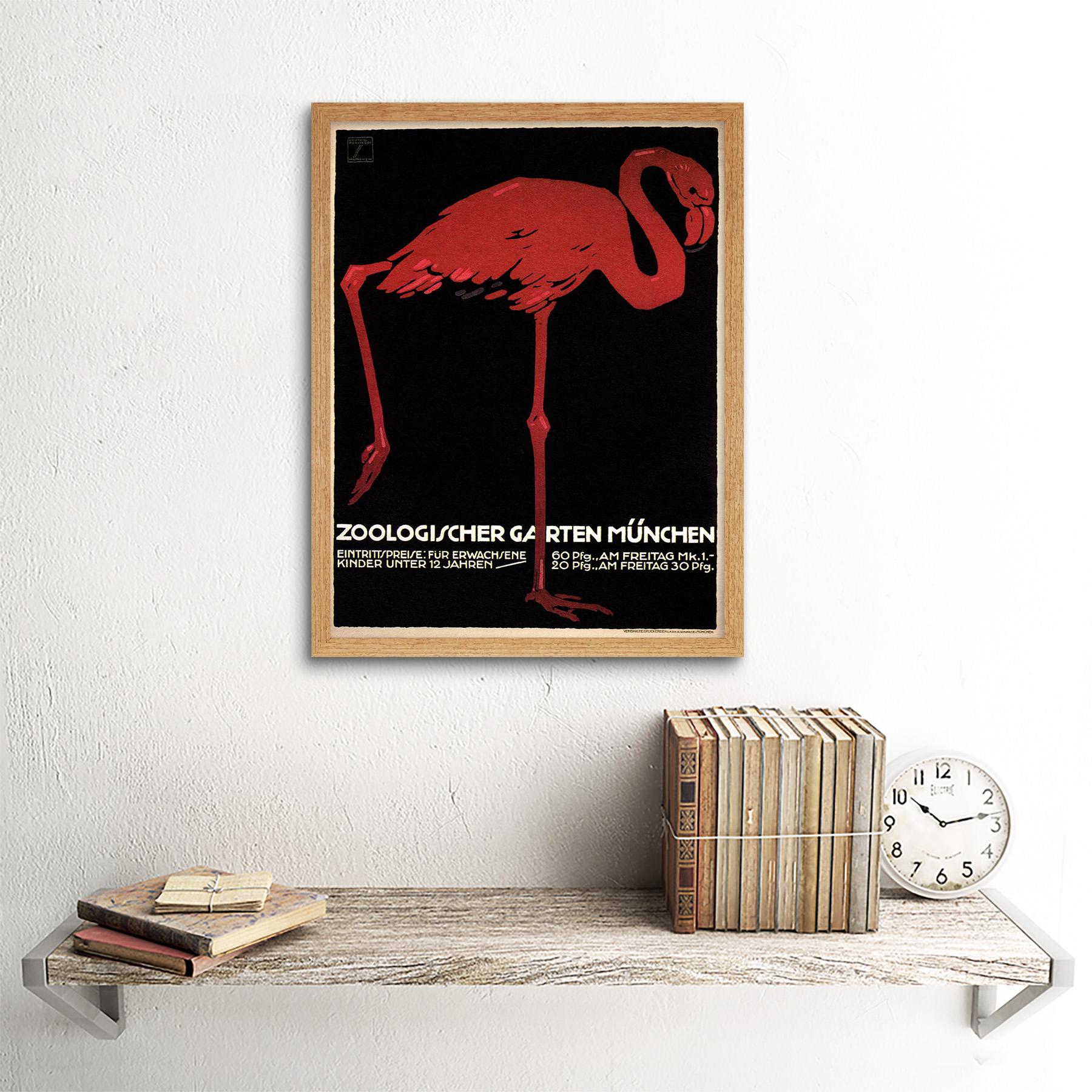 Cultural Zoo Flamingo Ave exposición de Múnich Baviera Alemania animal enmarcado impresión