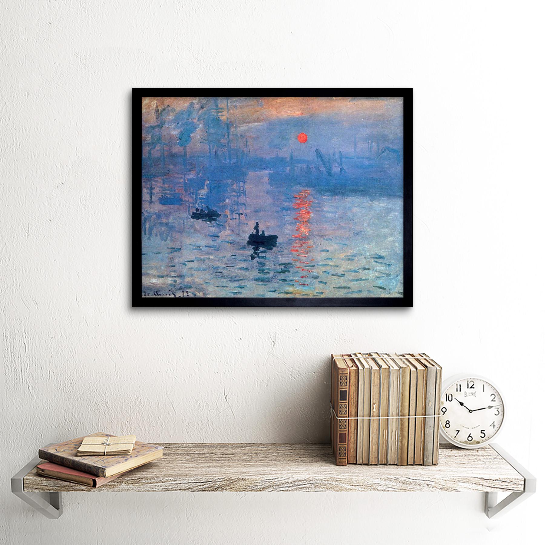 Claude Monet impresión amanecer viejo maestro pintura 12X16 pulgadas impresión arte enmarcado