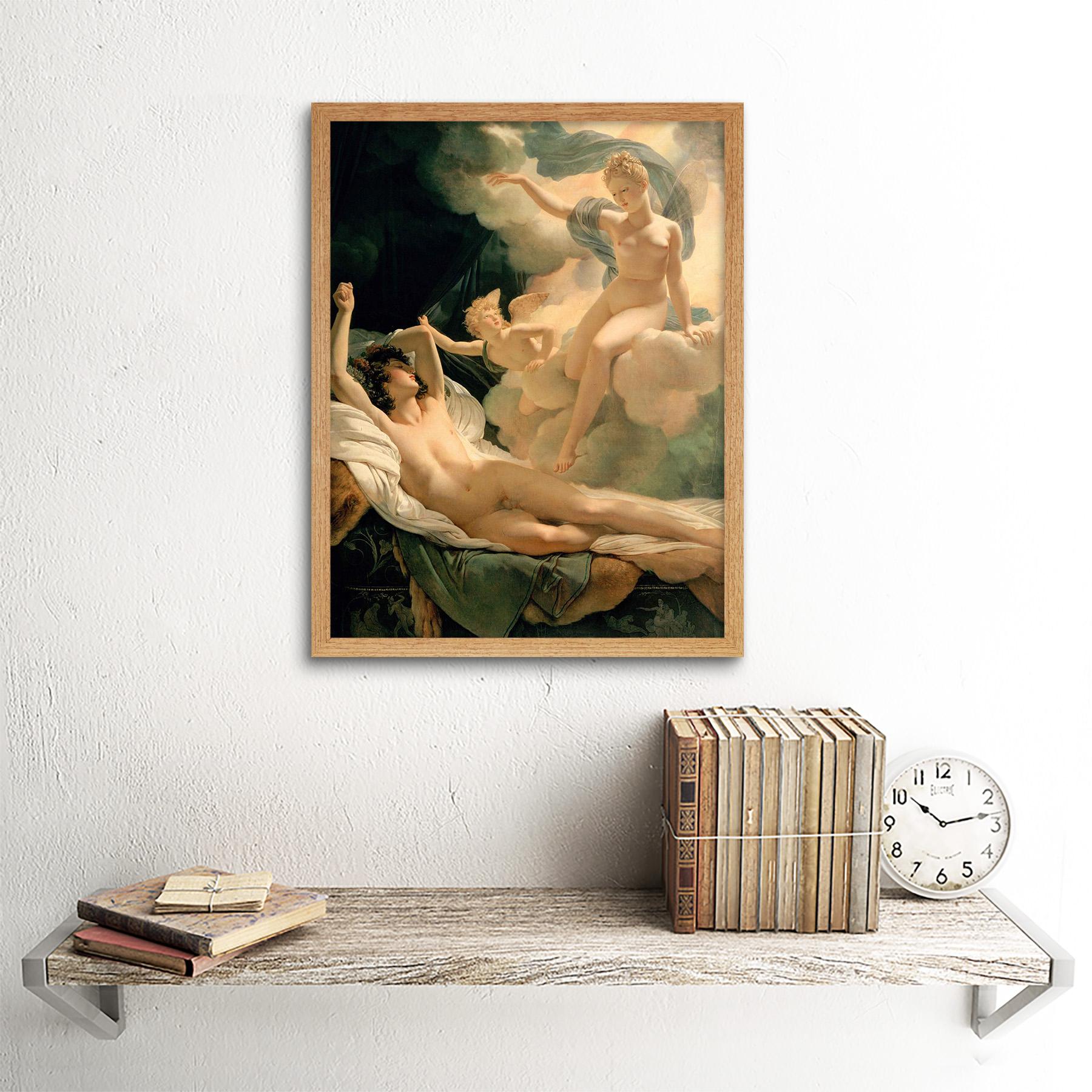 Pintura retrato mitología griega Guerin Morfeo Iris 12X16 pulgadas enmarcado impresión