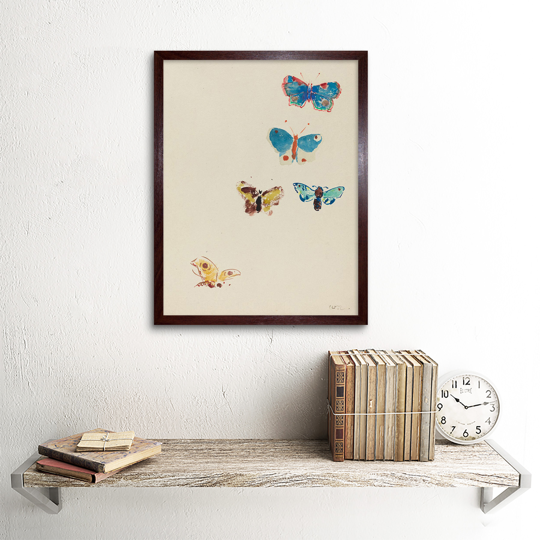 Odilon Redon francés cinco mariposas Antigua Pintura 12X16 pulgadas impresión arte enmarcado