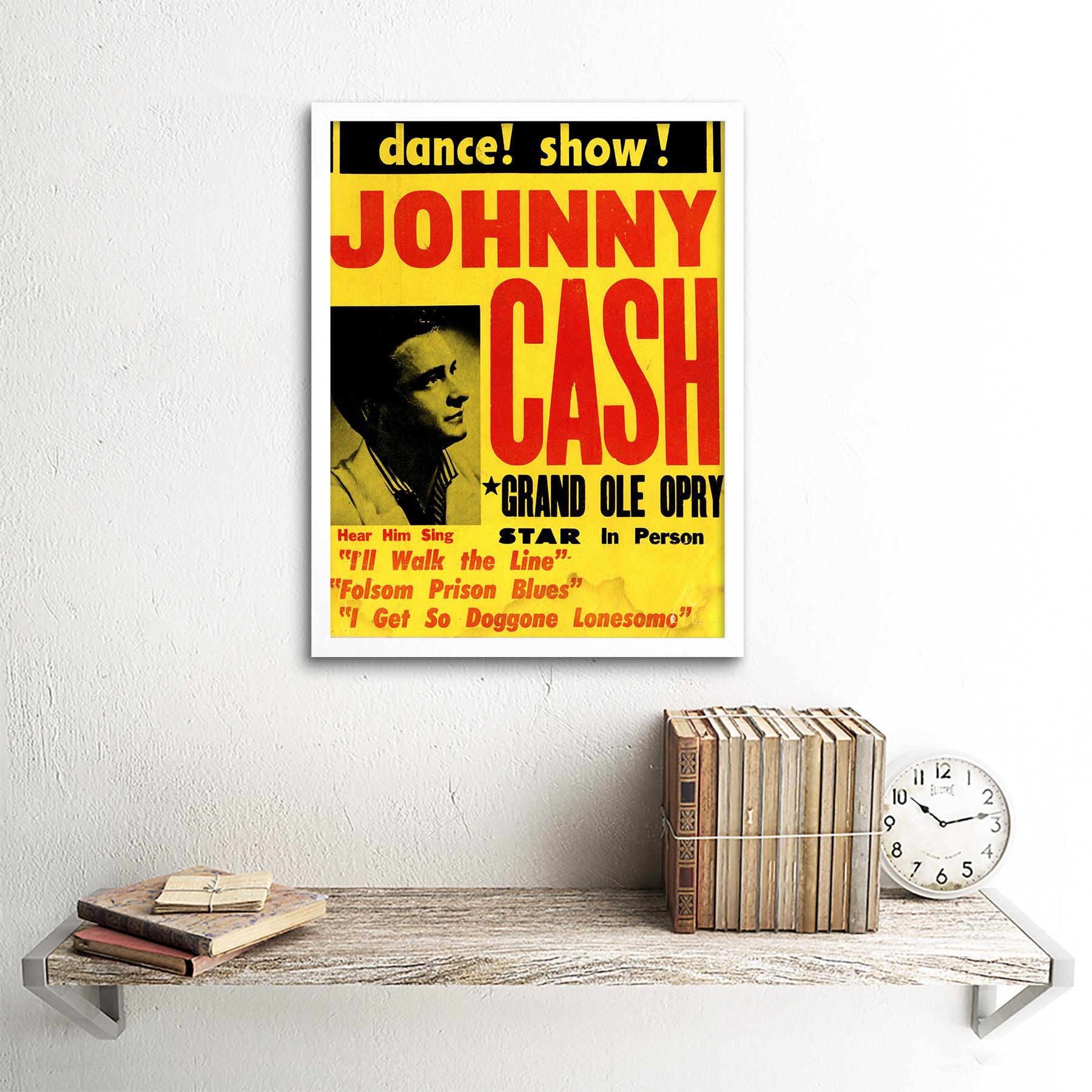 Music Concert Advert Johnny Cash Grand Ole Opry 12X16 Inch Framed Art Print