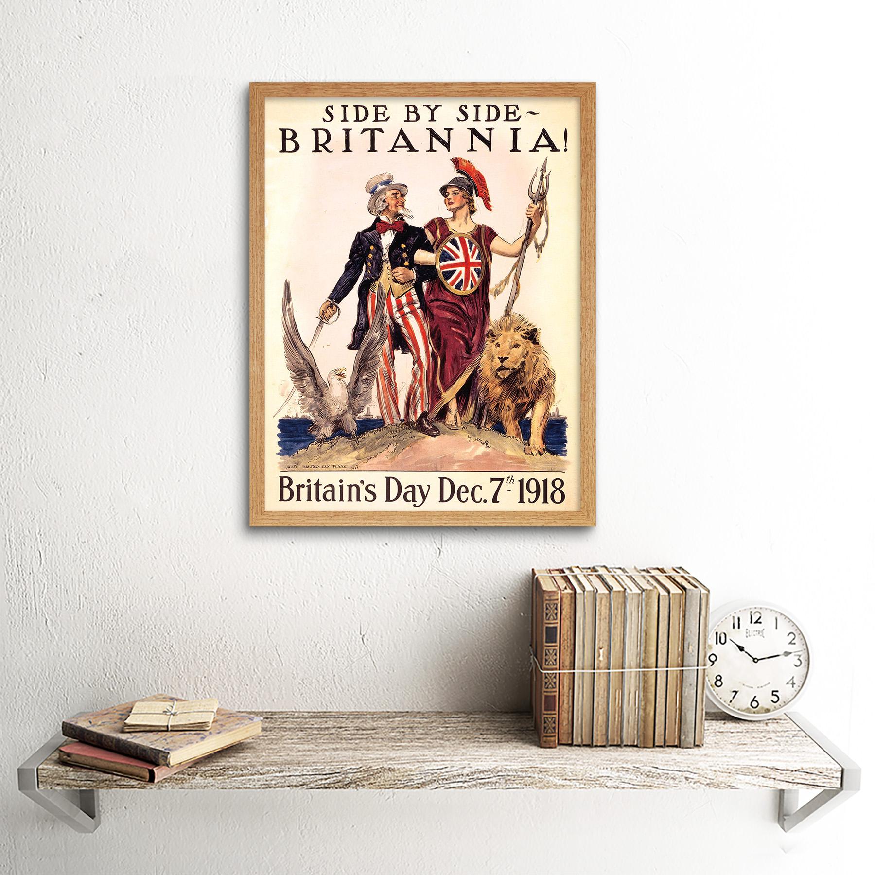 Propaganda Political Usa Uk Post War Wwi Uncle Sam Britannia 12X16 Framed Print
