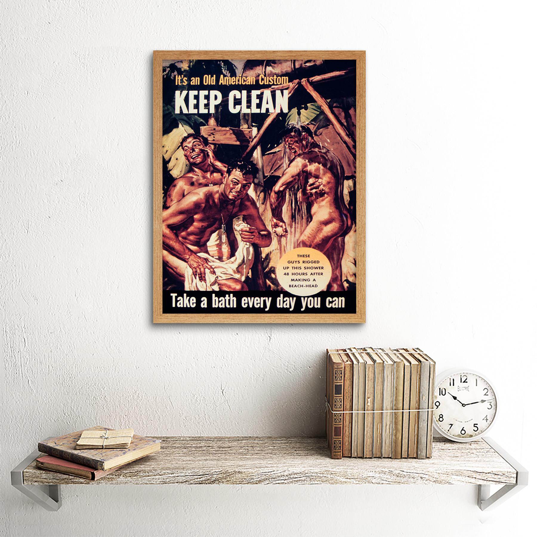Propaganda War Wwii Usa Clean Health Bath Shower Soldier 12X16 Inch Framed Print