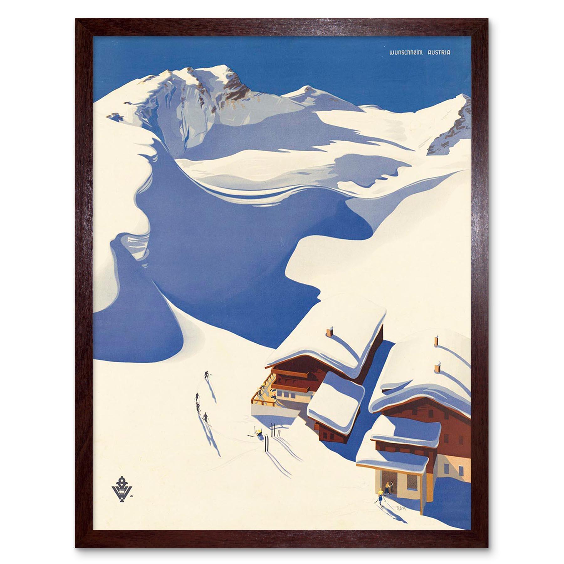 Viaje Deporte de Invierno Nieve Esquí chalet Alpes Austria 12X16 pulgadas impresión arte enmarcado