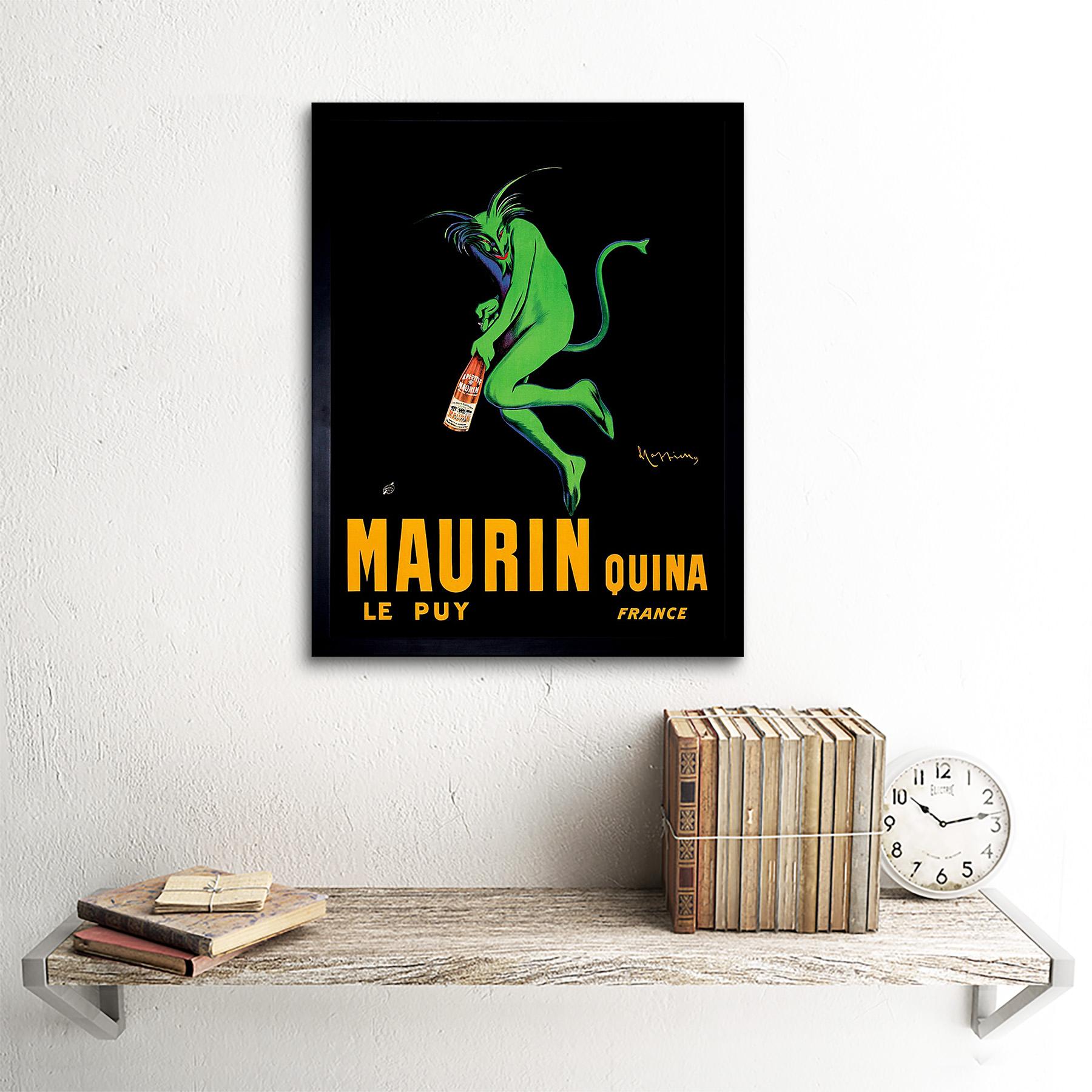 Advert Drink Alcohol Maurin Quina Green Devil France 12X16 Inch Framed Art Print