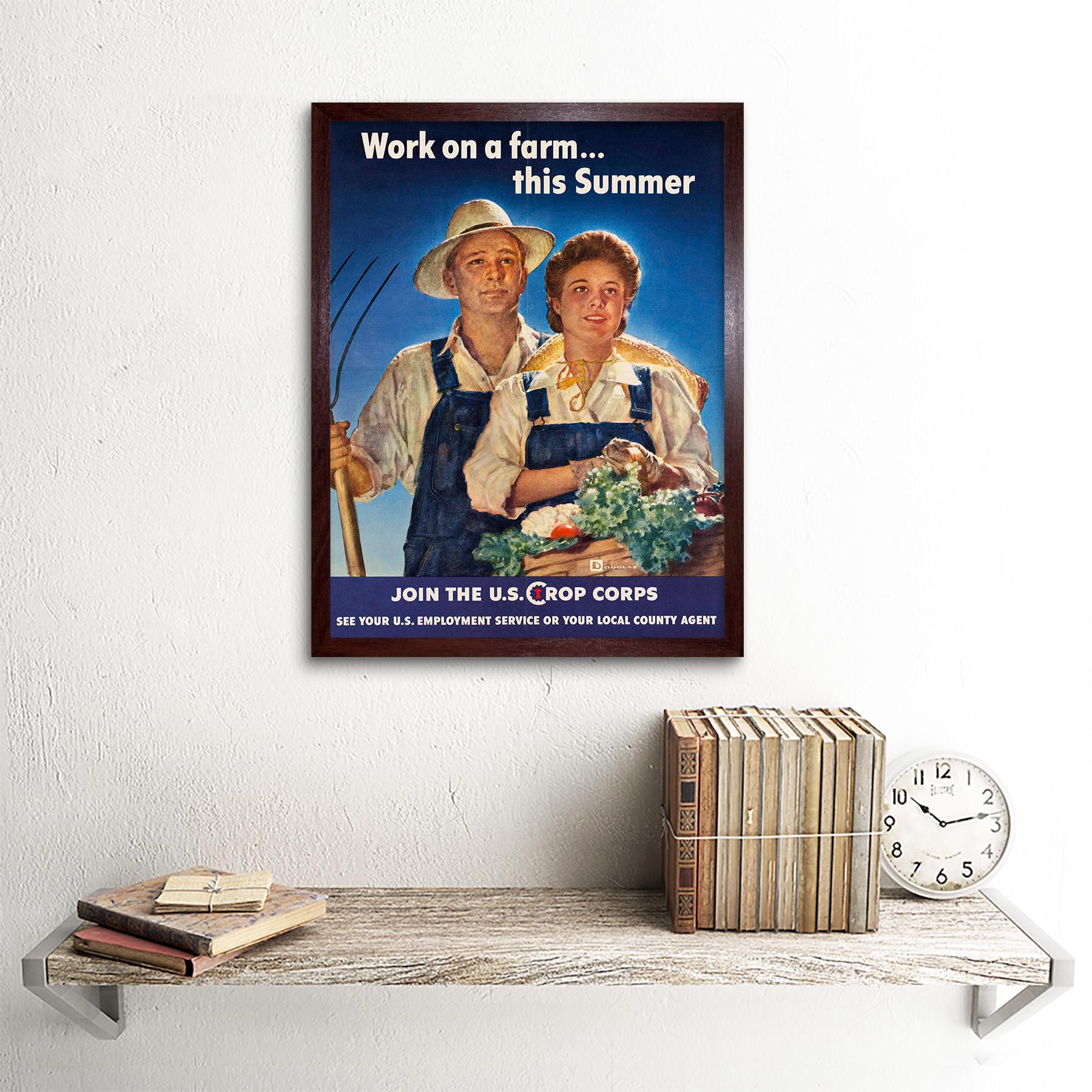 UU 12X16 pulgadas enmarcado impresión Guerra de propaganda política la segunda guerra mundial cultivo Corps trabajo agrícola EE
