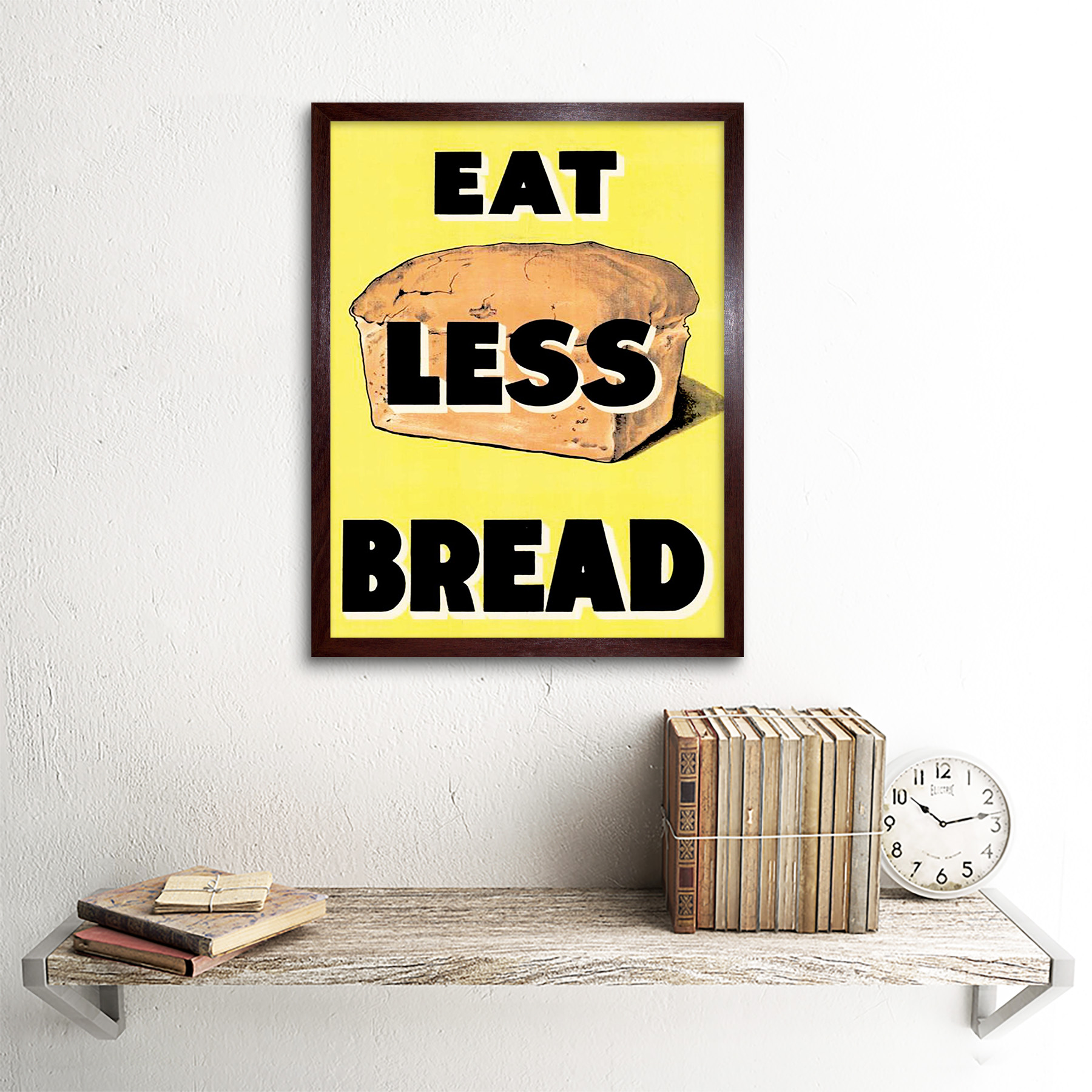 Propaganda War Wwii Uk Eat Less Bread Loaf Ration Food 12X16 Inch Framed Print