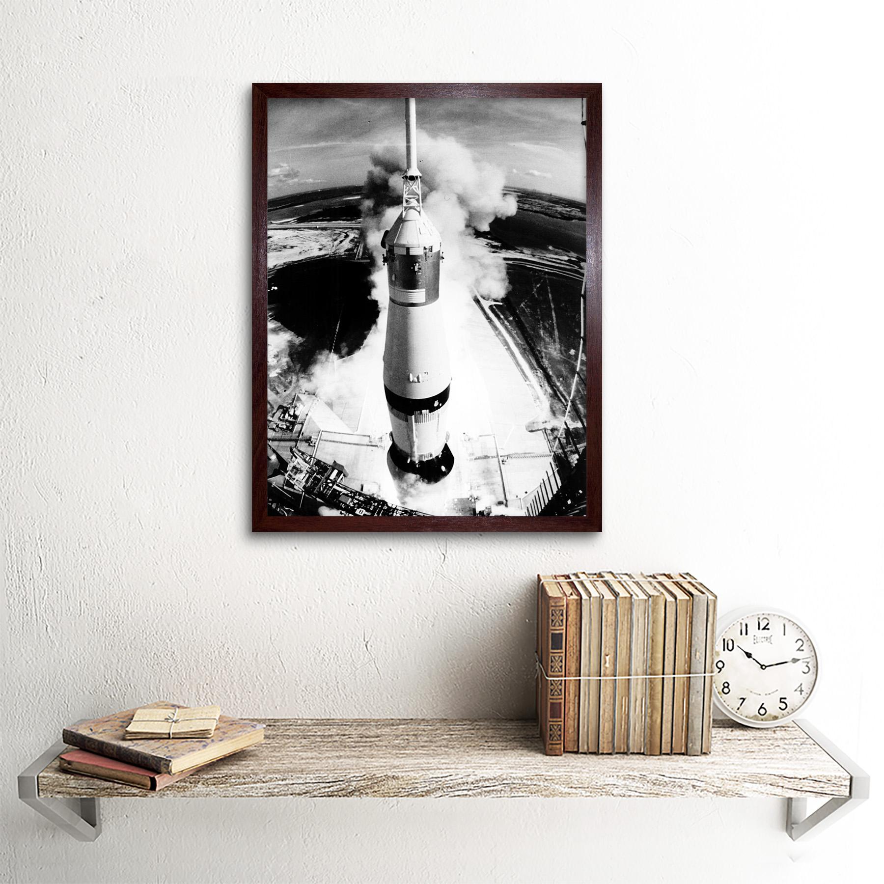 Lanzamiento del cohete espacio Saturno V Apolo 11 ver empuje Blast Elevación De Lámina