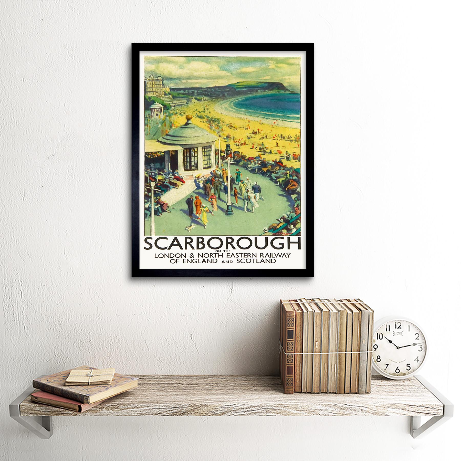 Travel Tourism Scarborough Beach Resort Yorkshire Uk 12X16 Inch Framed Art Print