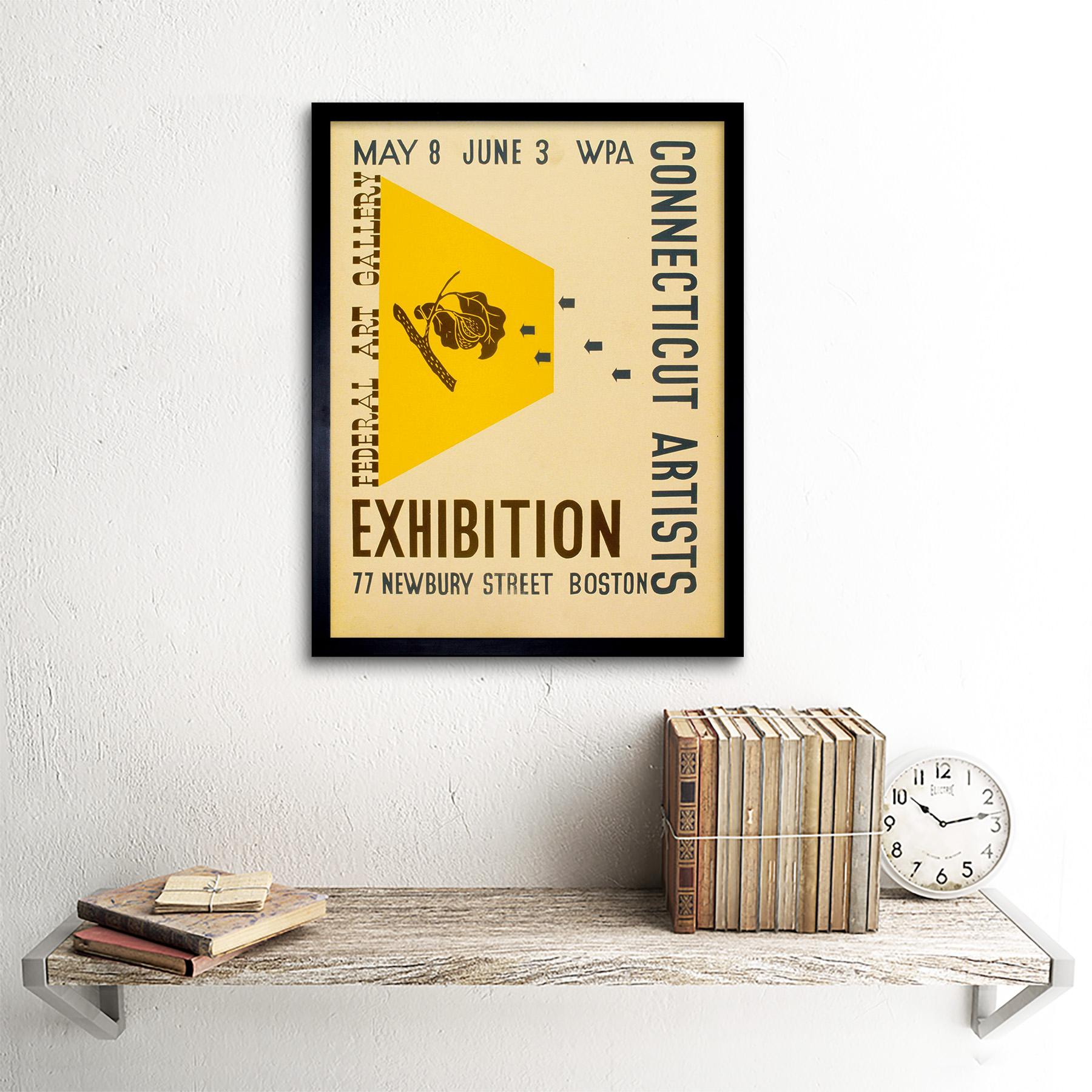 Vintage Advert Gallery Exhibition Wpa Connecticut Artist 12X16 Inch Framed Print