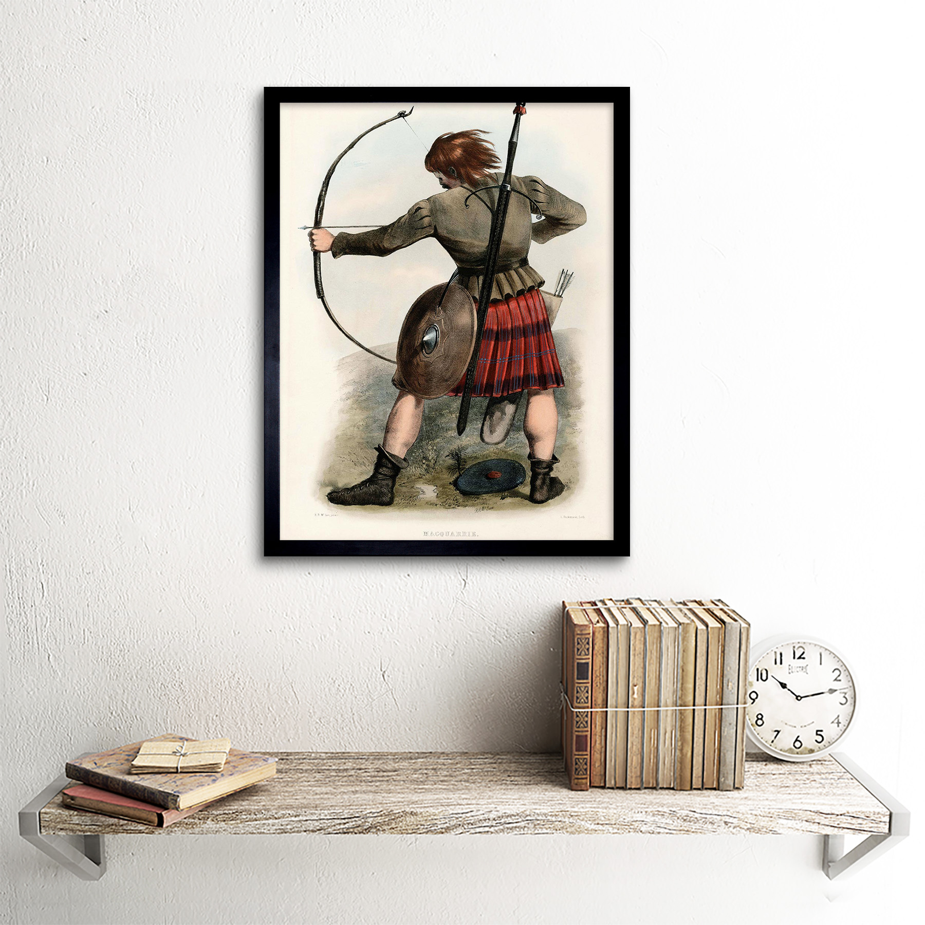 Painting Portrait Highland Clan Scotland Tartan Macquarrie 12X16 Framed Print