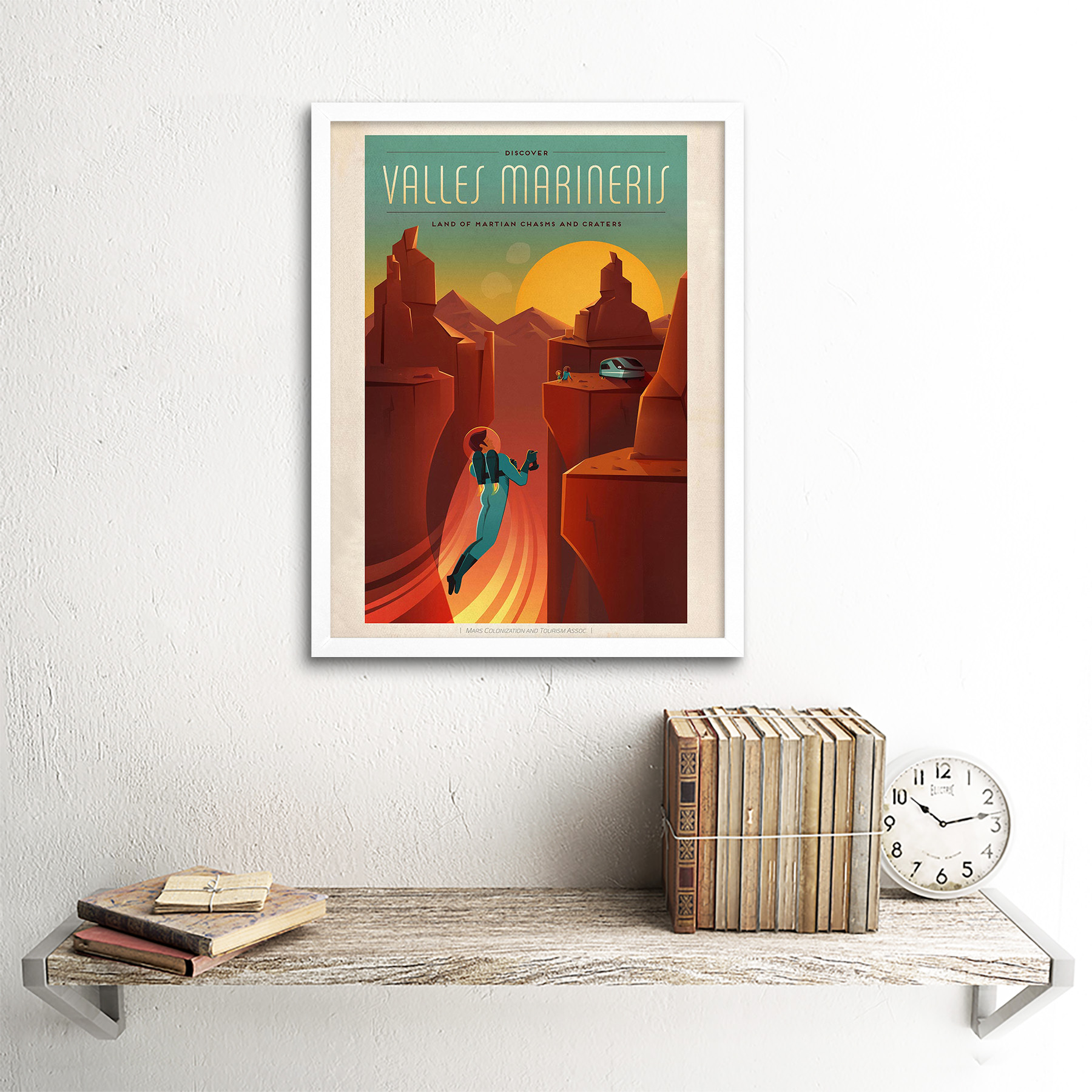 Space Mars Travel Advert Valles Marineris 12X16 Inch Framed Art Print