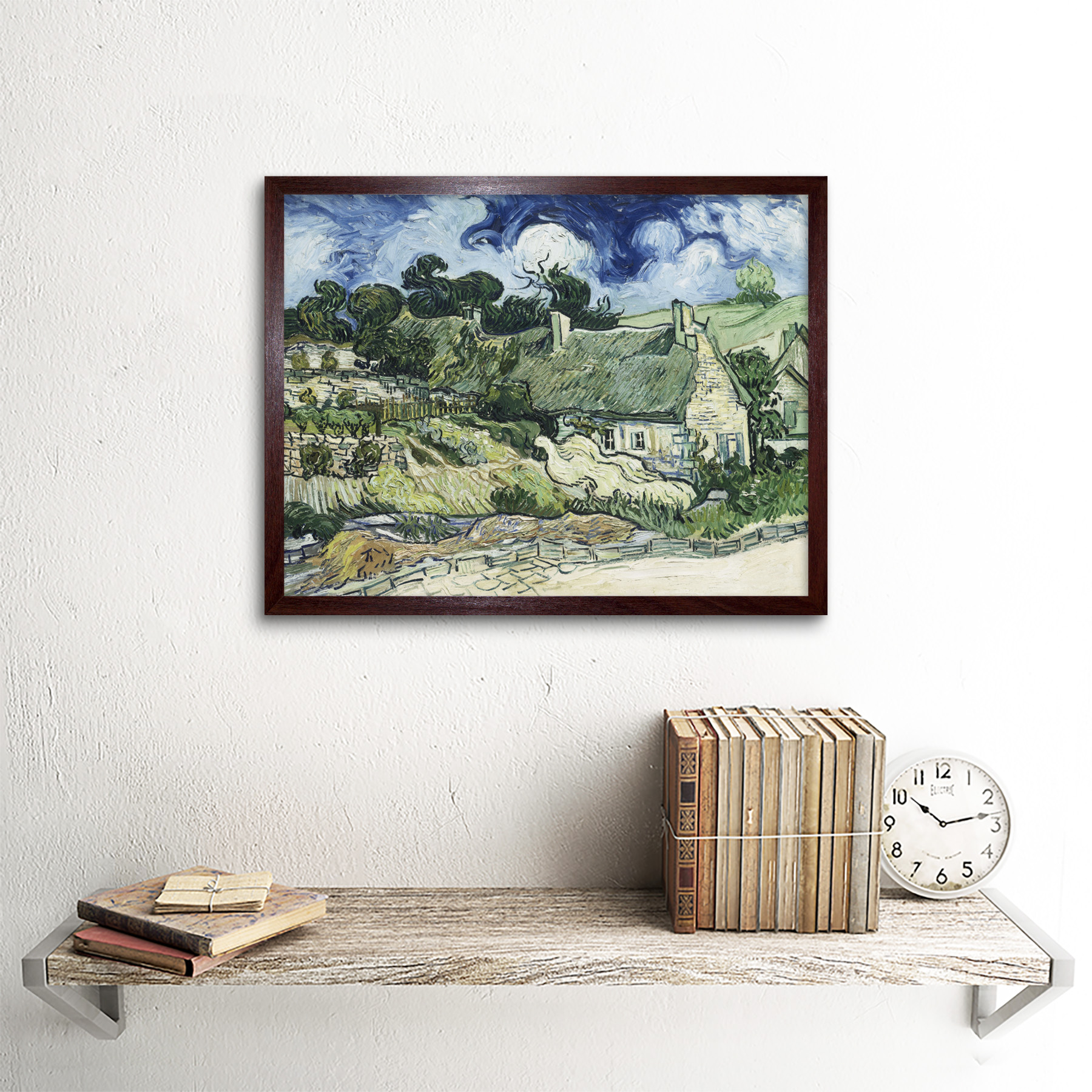 Vincent Van Gogh Thatched Cottages At Cordeville Art Print Framed 12x16