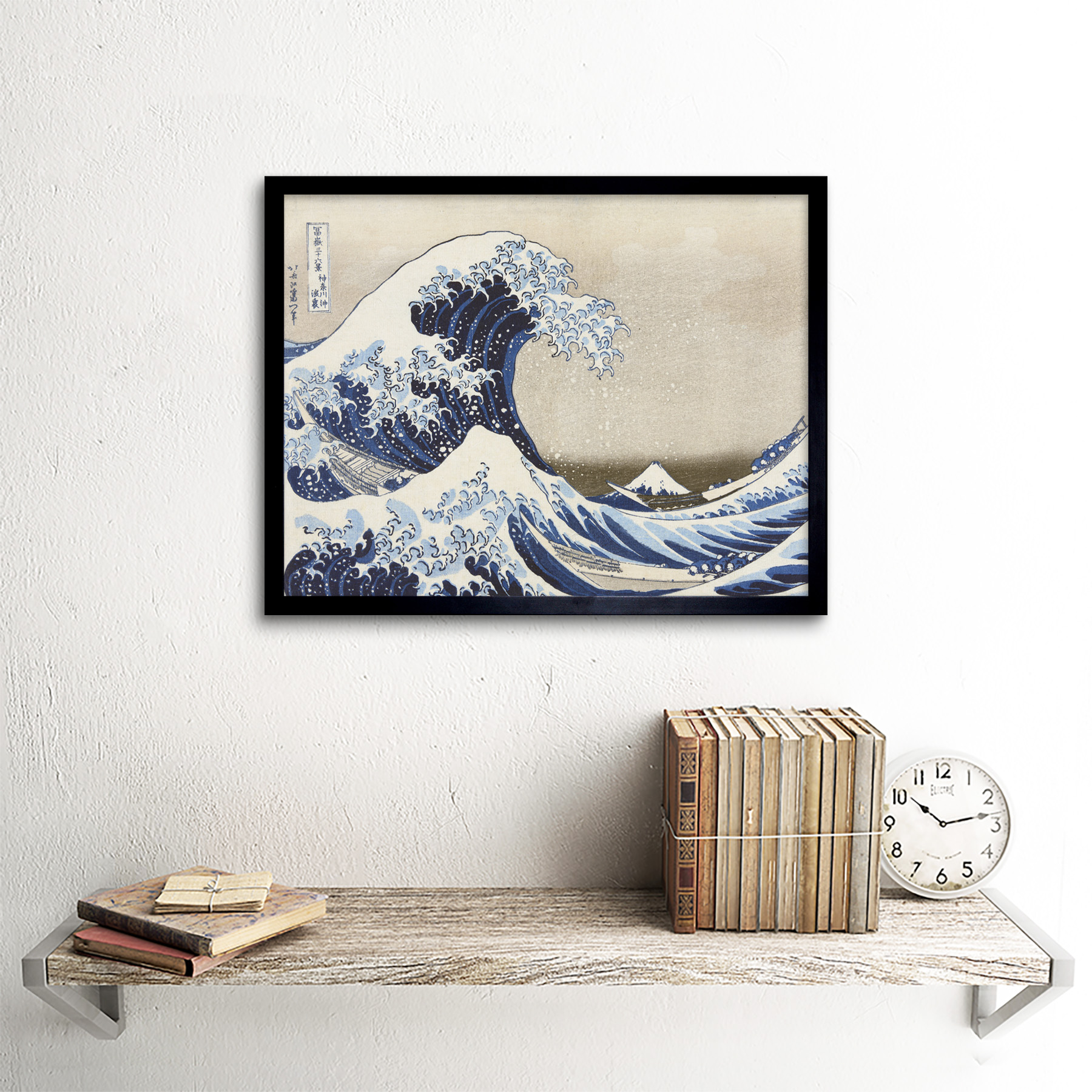Hokusai Under Wave Kanagawa 36 Views Mount Fuji Painting Art Print Framed 12x16