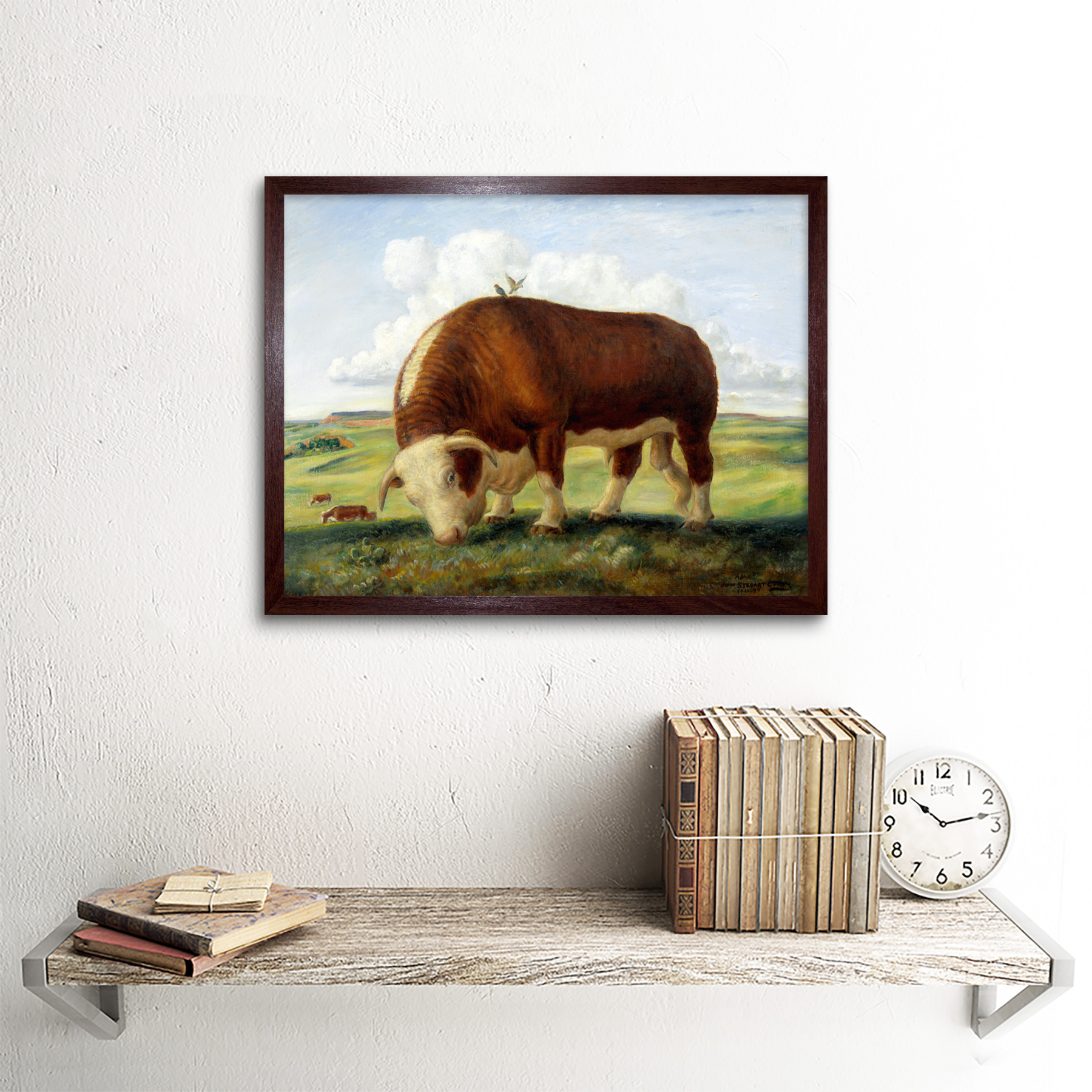 Curry Ajax Hereford Vaca Toro Aves Paisaje Pintura arte impresión enmarcado 12x16