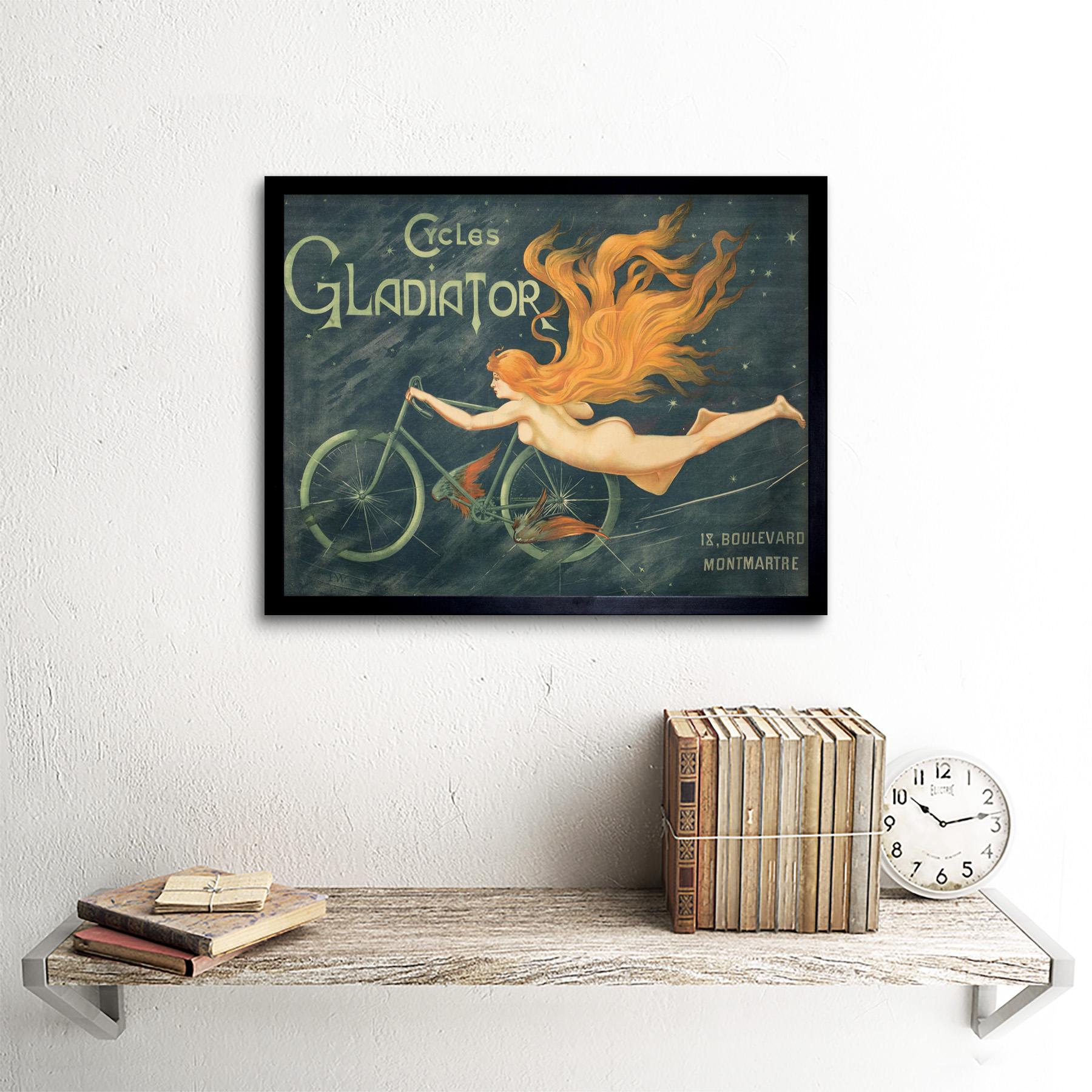 Massias Gladiator Cycles Bike Nude Woman Vintage Advert Art Print Framed 12x16