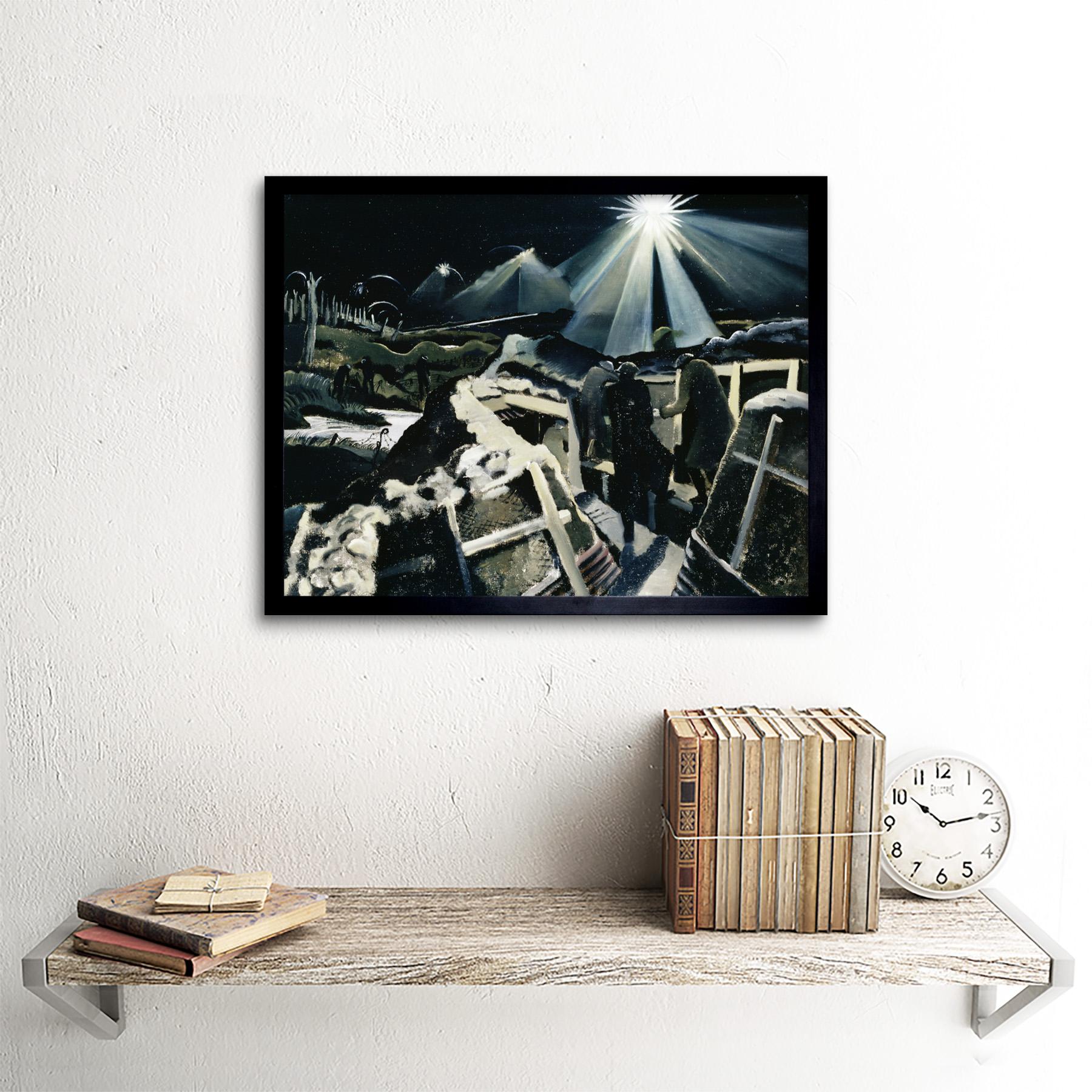 Nash Ypres salientes noche batalla Wwi Guerra Pintura Pared Arte Impresión Enmarcado 12x16