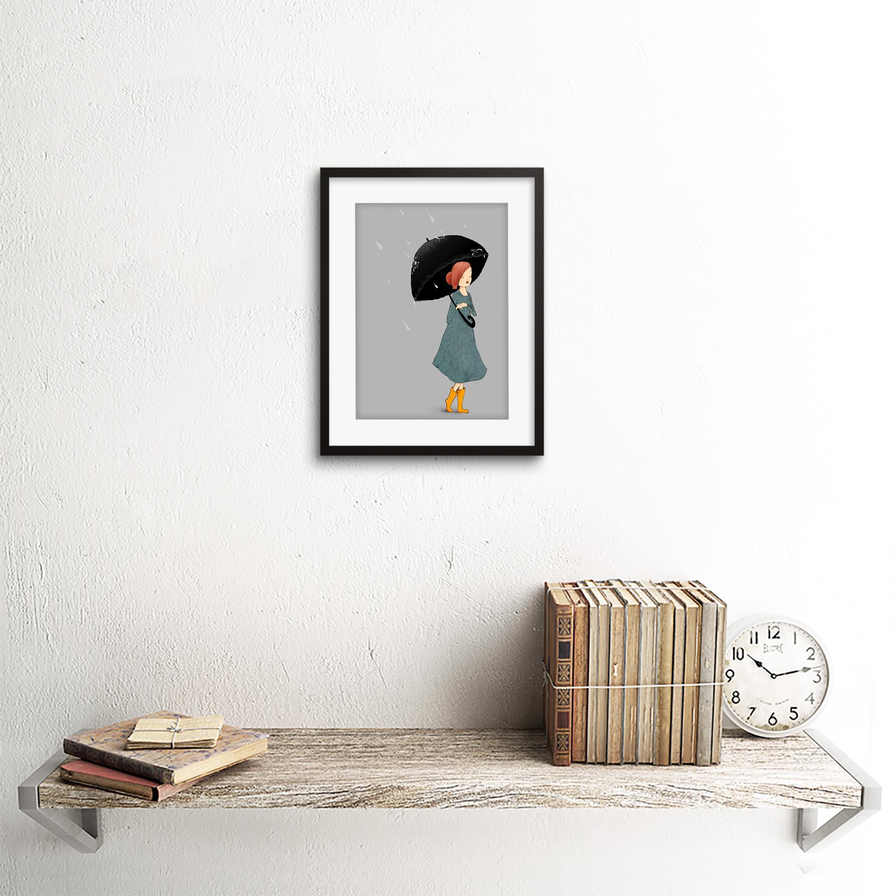 Girl In Rain Illustration Art Print Framed Poster Wall Decor
