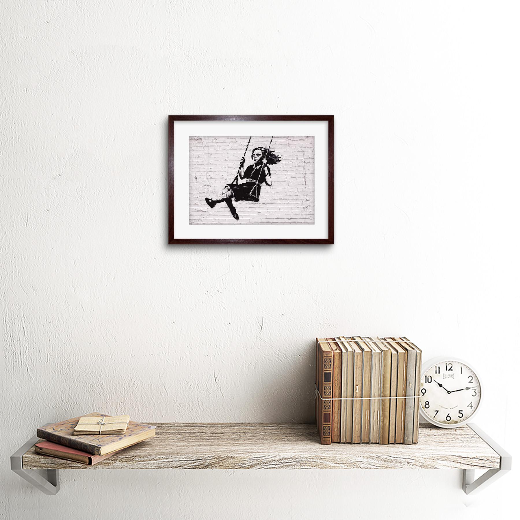 Banksy Girl On Swing Graffiti Street Art/' Framed Art Print 9x7 Inch