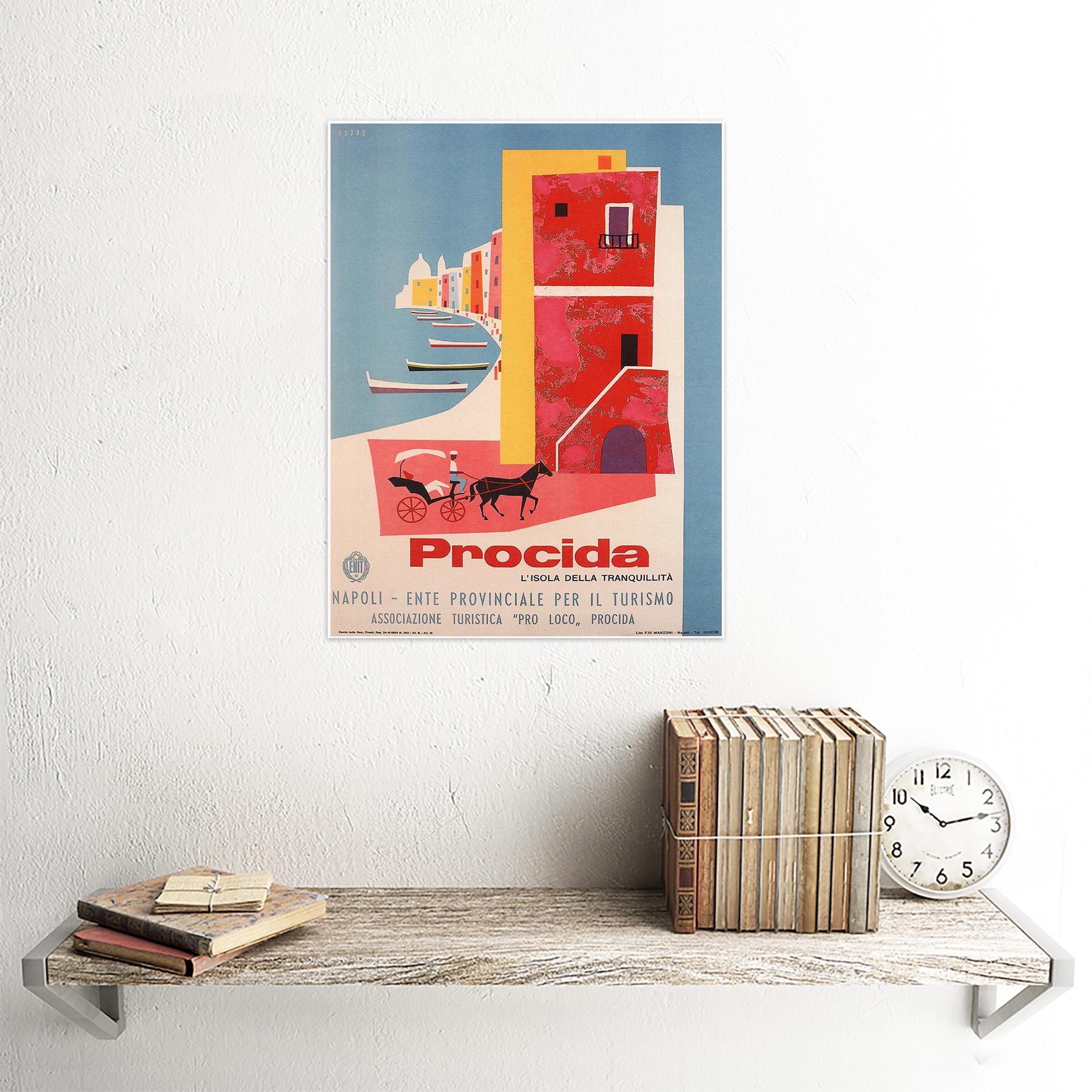 Travel Tourism Procida Naples Italy Boat Sea Horse 12X16 Inch Framed Art Print