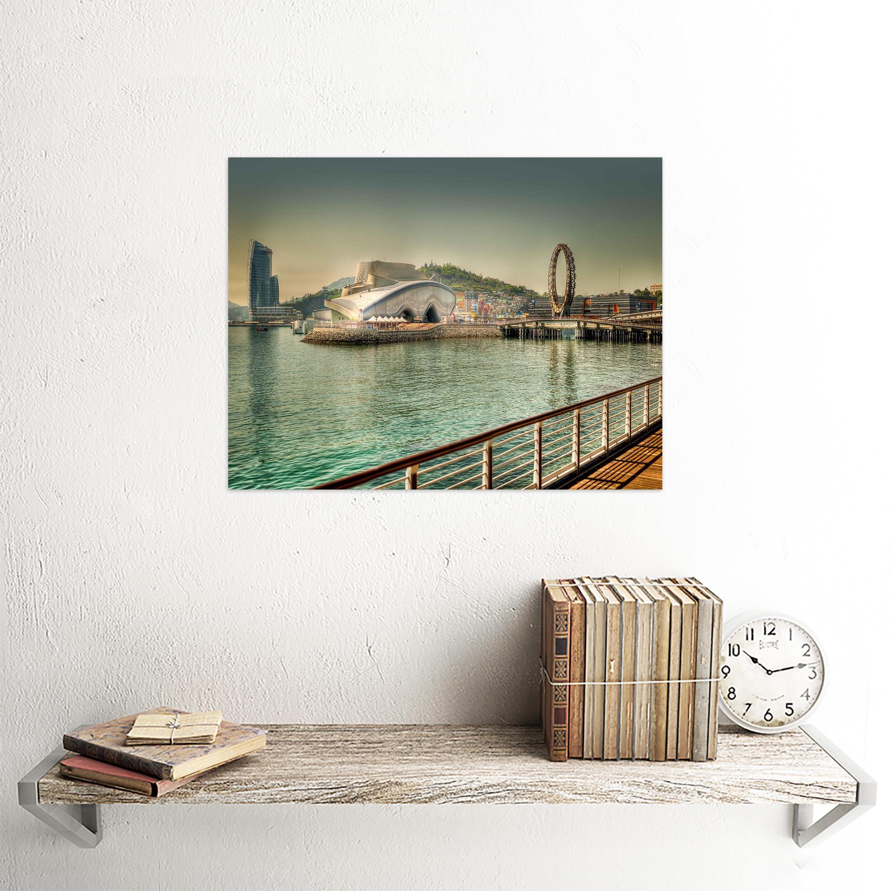 Photo Cityscape Yeosu South Korea Expo Fairground Wheel River Framed Art Print
