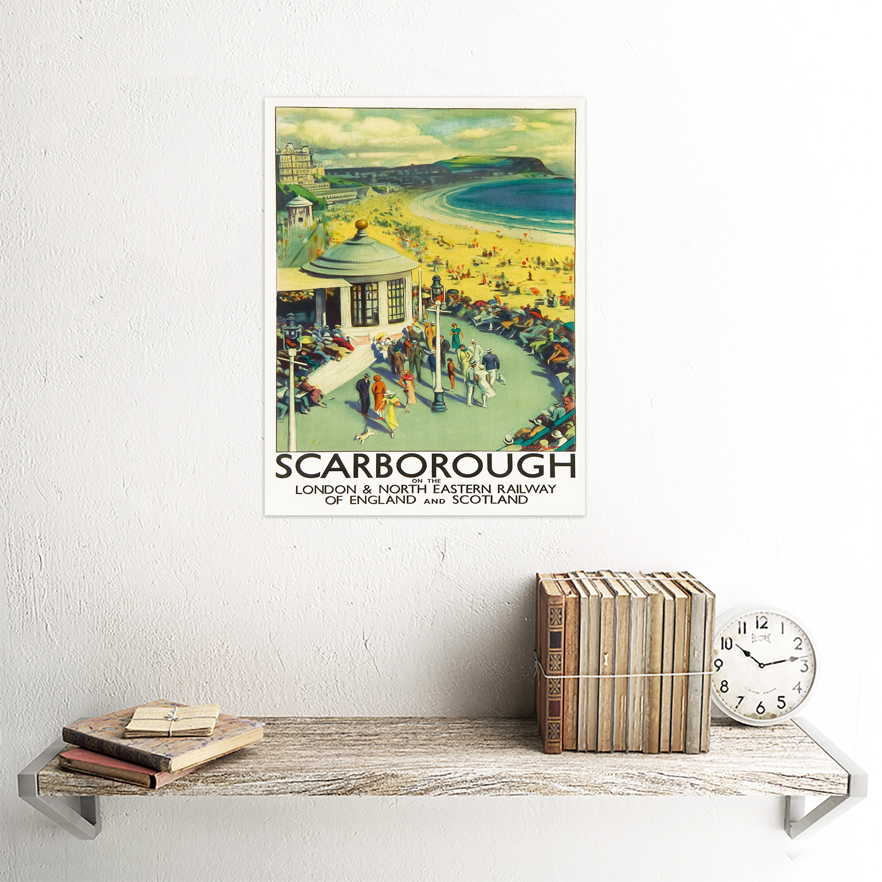 Travel Tourism Scarborough Beach Resort Yorkshire Uk 12X16 Inch Framed Art Print