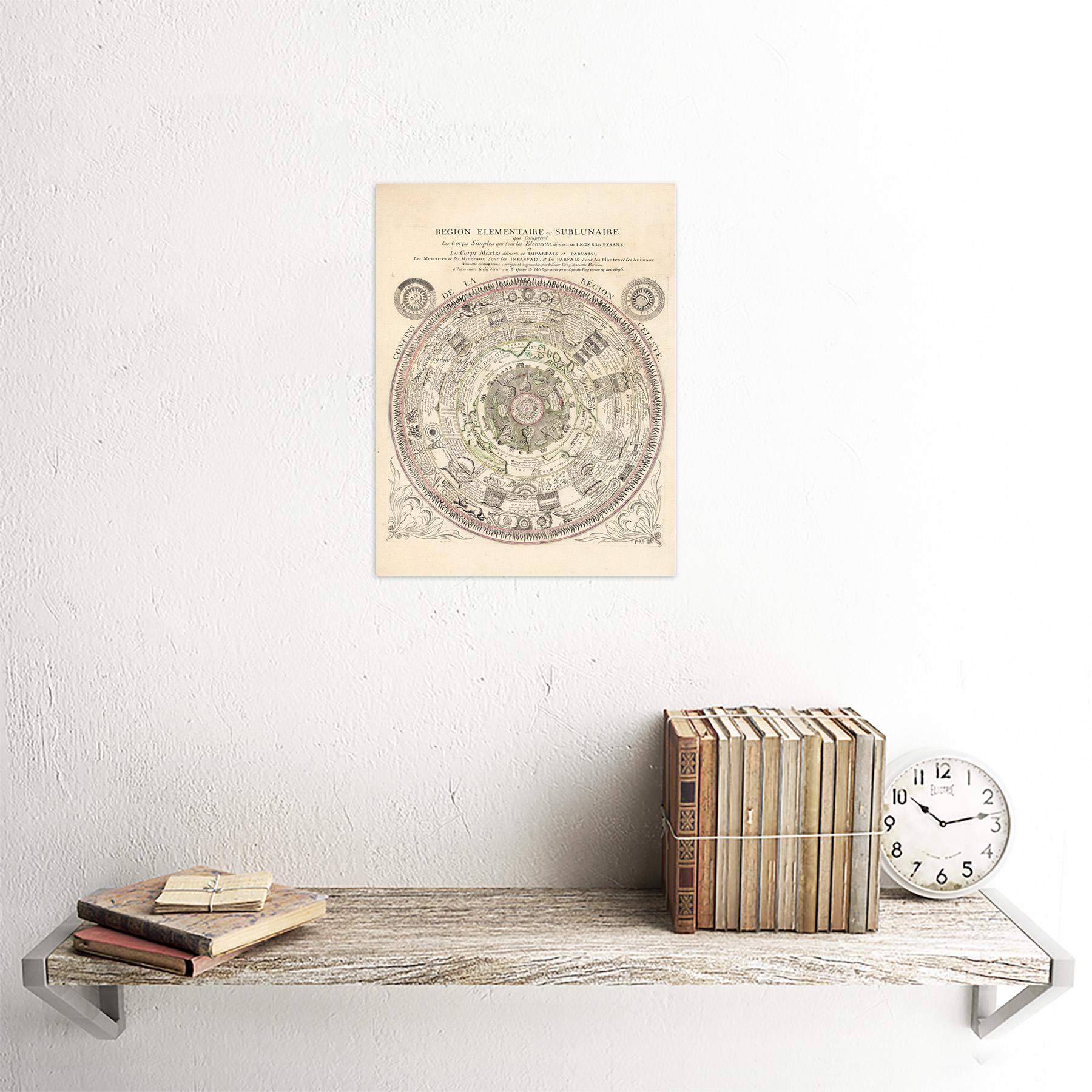 Mapa Mariette 1696 Celeste ptolemaico Gráfico pared arte impresión enmarcado 12x16