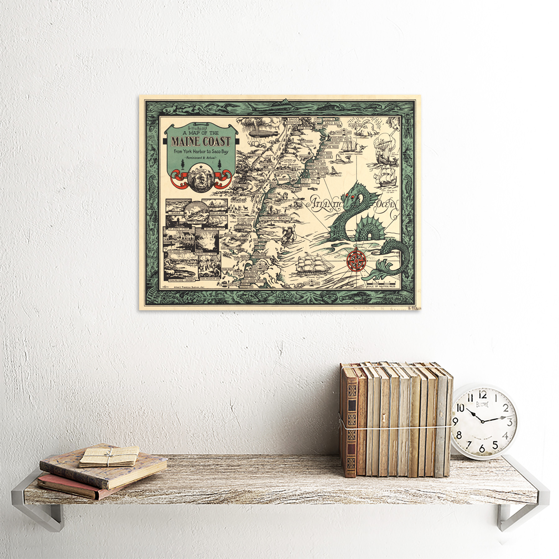 Button 1929 Pictorial Map Maine Coast History Framed Wall Art Poster