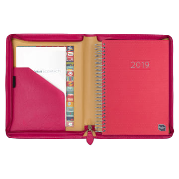 2019 Family Life Book in real leather cover - Fuchsia