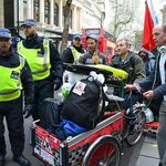 A police escort to help us get through the crowds at the Peoples Assembly march 2016.