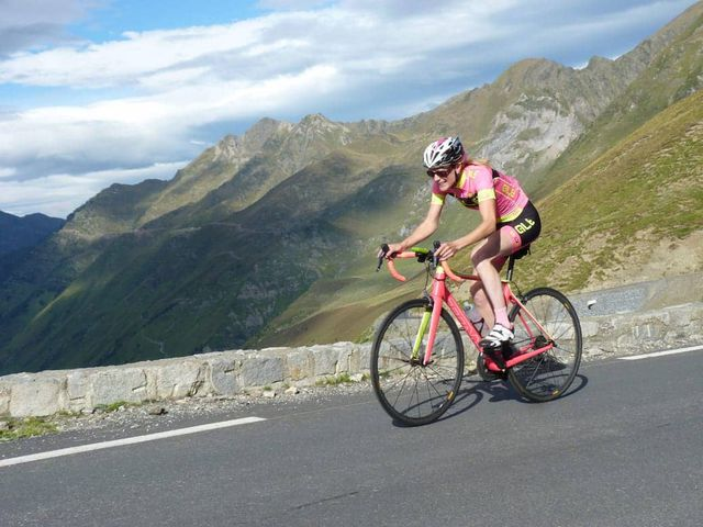 Helen flying on Tourmalet