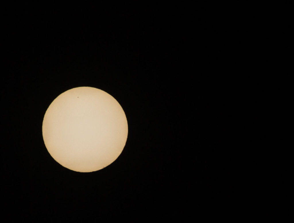 Test shot of the sun - notice the back spot towards the top of the disc - I think this might be a sunspot! (it appears in the same place on a different image).