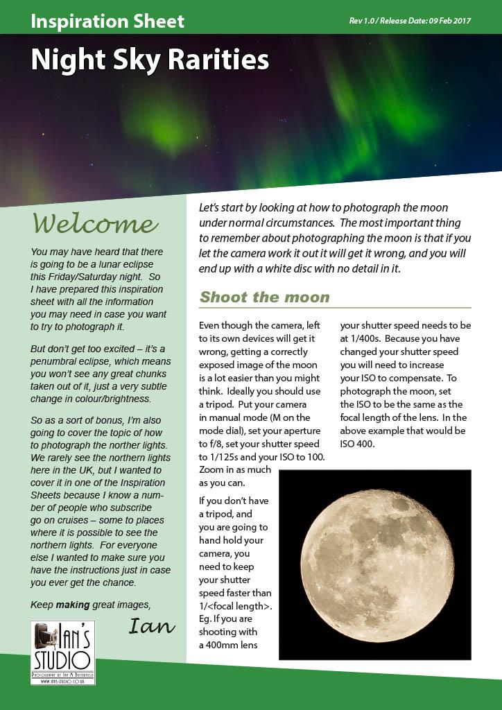 Inspiration Sheet: Night Sky Rarities