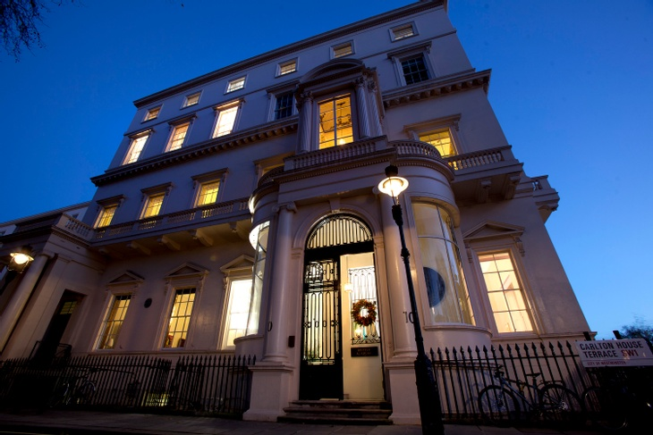 Exterior of London Christmas party venue at night