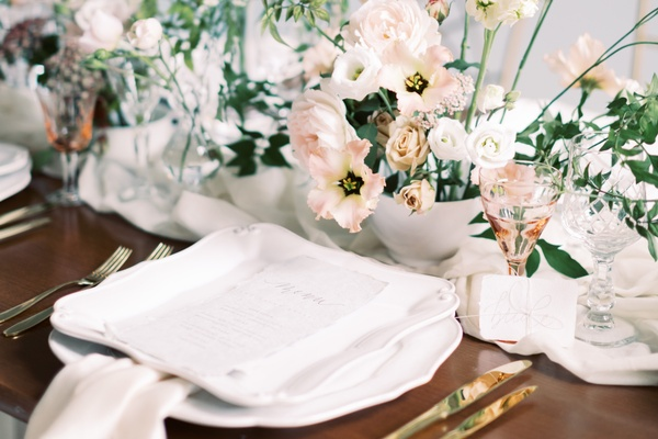 Close-up of table set-up at micro wedding hosted by central London wedding venue 10-11 Carlton House Terrace