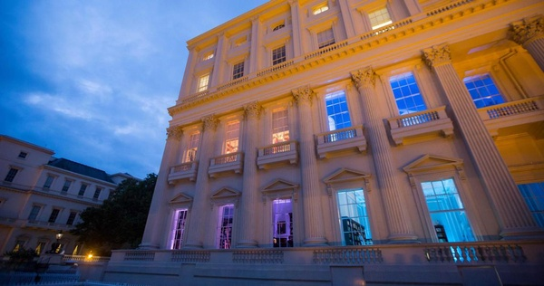 The exterior of luxury party venue 10-11 Carlton House Terrace at dusk