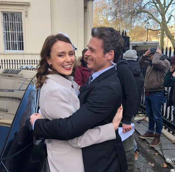 Stars of the Bodyguard on set at Westminster filming location 10-11 Carlton House Terrace