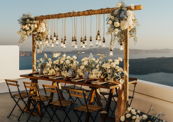 An intimate micro wedding set-up in Greece