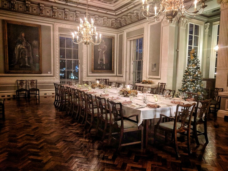 A traditional festive party set-up at Christmas party venue 10-11 Carlton house Terrace