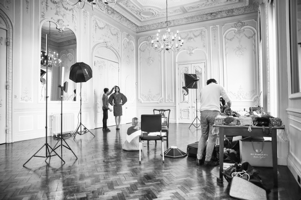 behind the scenes of a photoshoot at London filming venue 10-11 Carlton House Terrace
