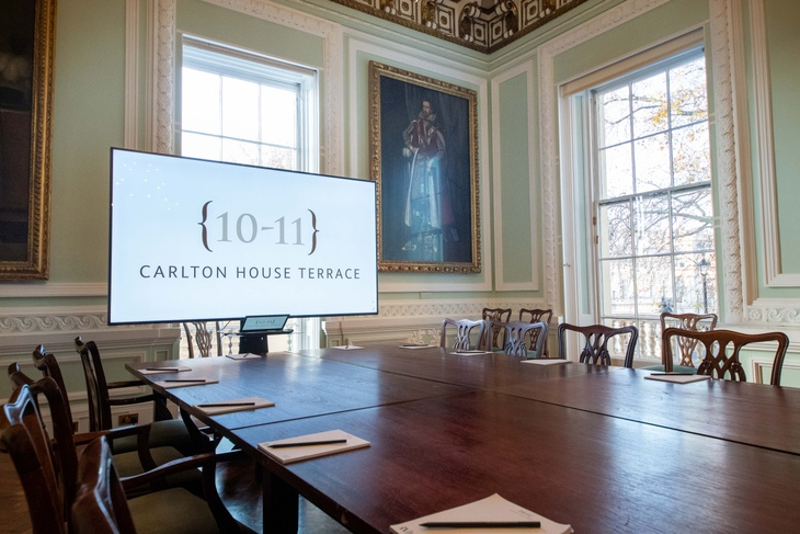Boardroom meeting set-up at London conference venue 10-11 Carlton House Terrace