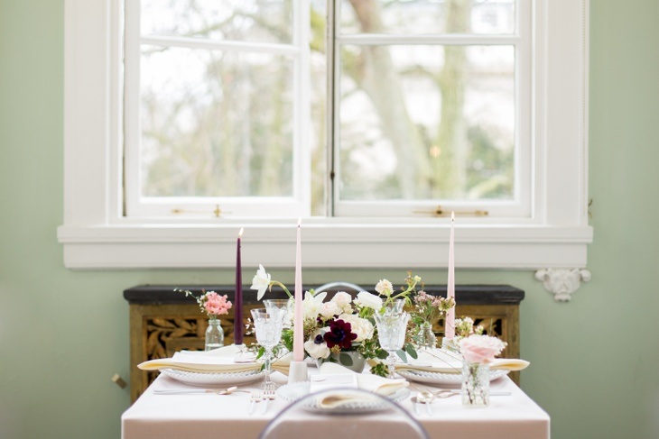 An elegant table set up for a newly web couple at photoshoot venue 10-11 Carlton House Terrace